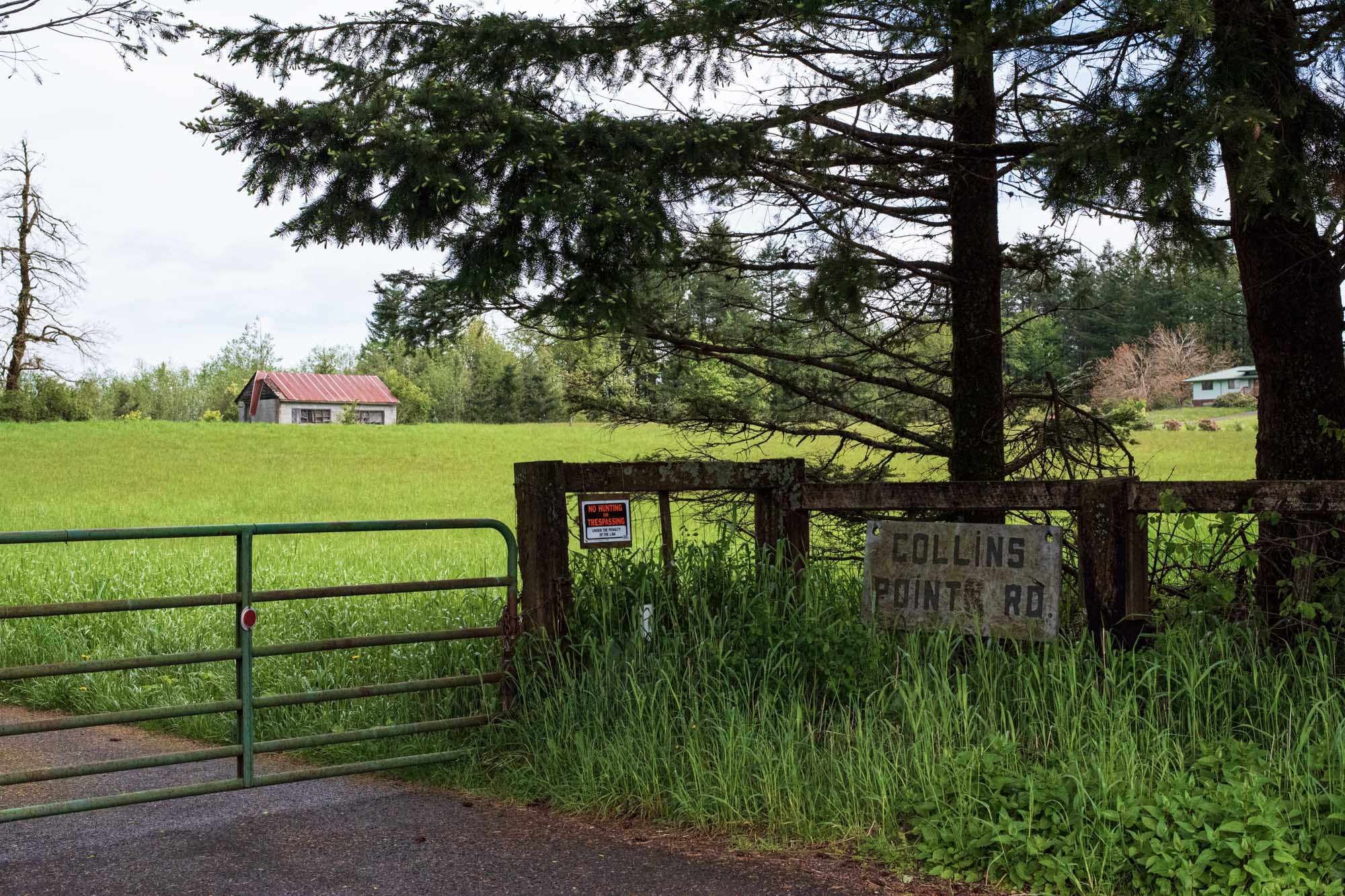 the entrance to a farm in rural Oregon