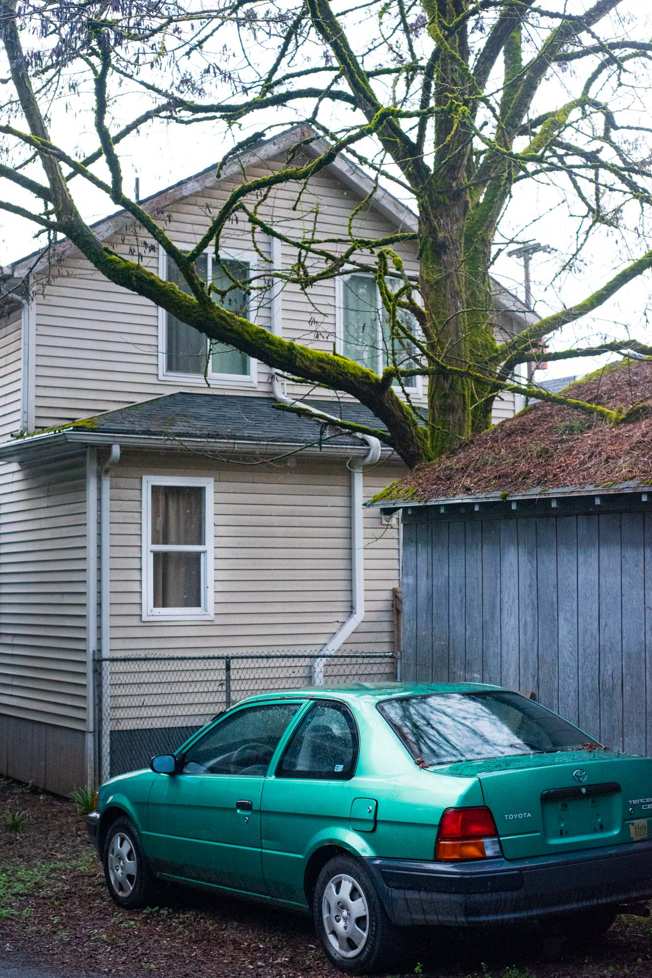 a green car parked behind a house on a crisp fall day in Portland, Oregon