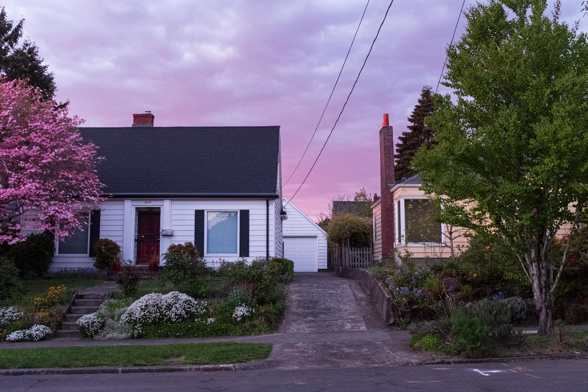 beautiful pink sky above a suburban house