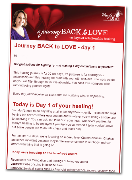 Journey to Love - Energy Healing email sample