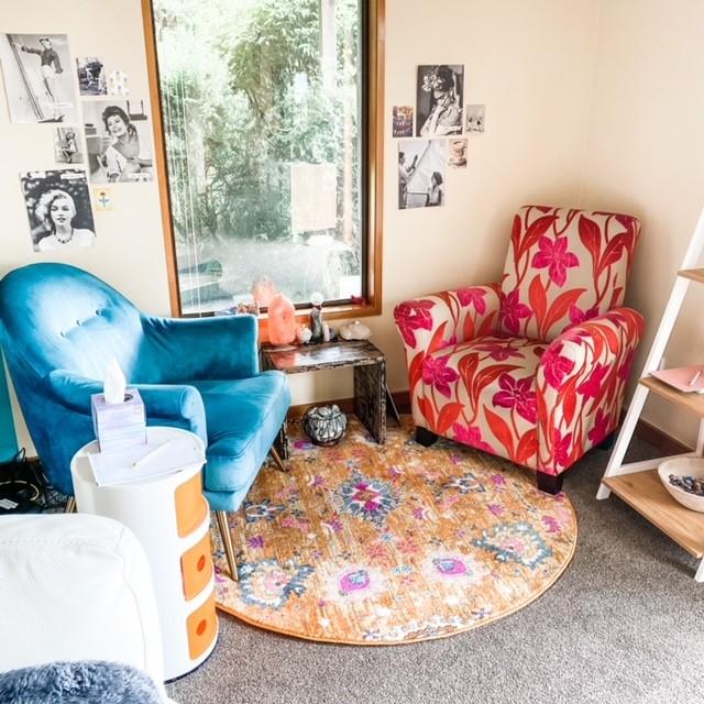 The cosy nook in Hayley Lowe's healing room