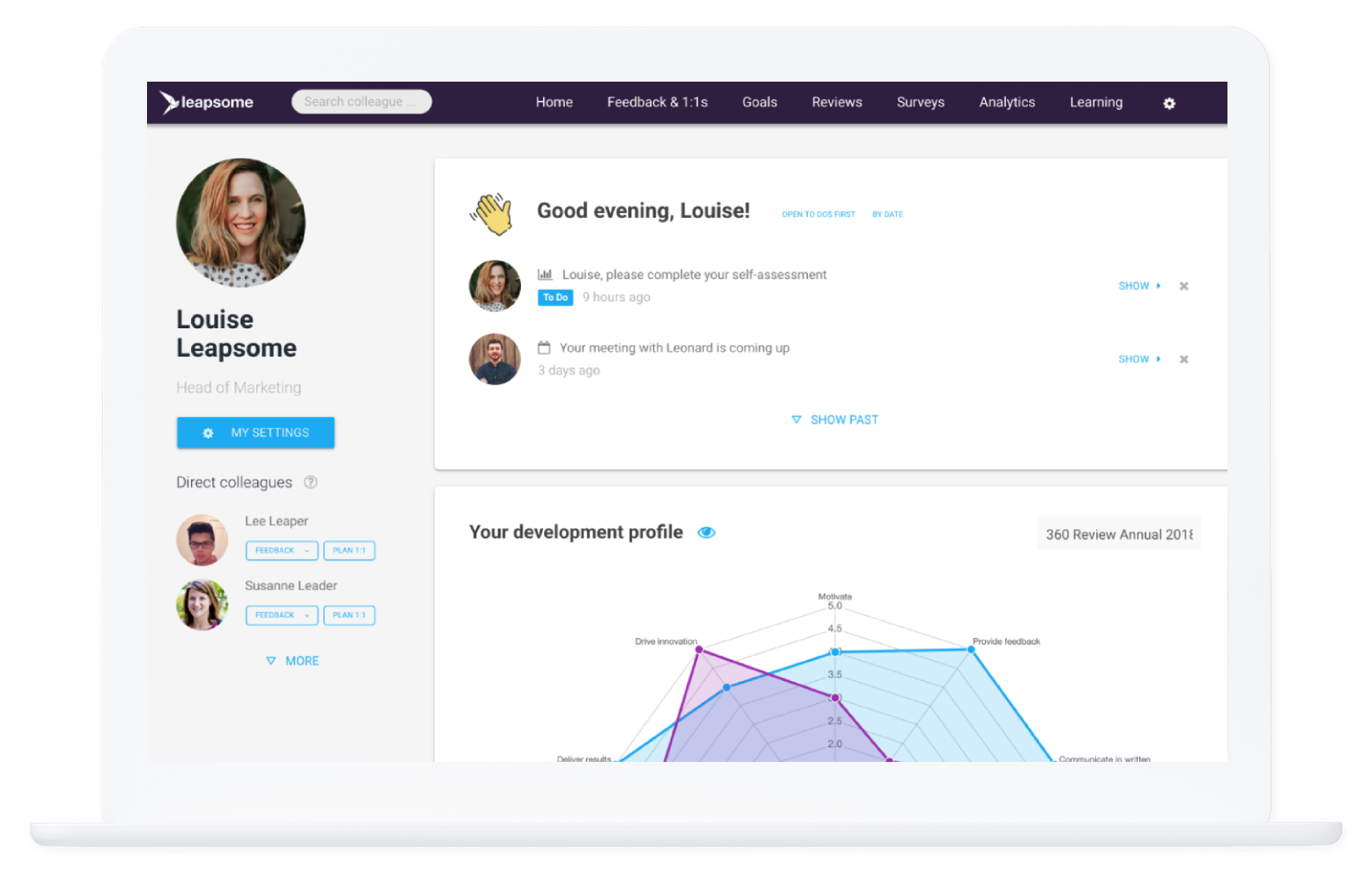 Screenshot of Leapsome's performance management and employee engagement software
