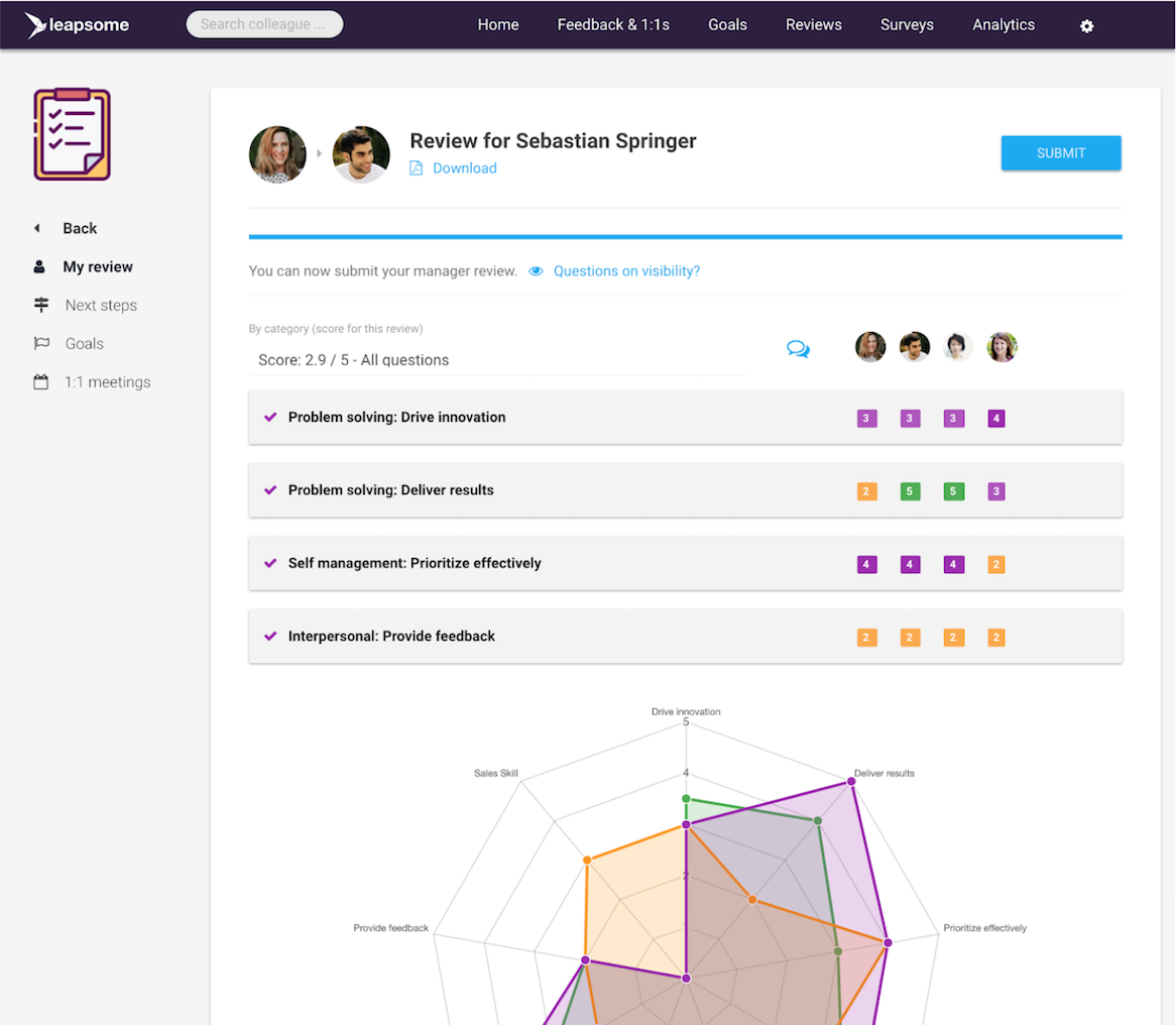 Screenshot of Leapsome's Goal Management & OKR Software