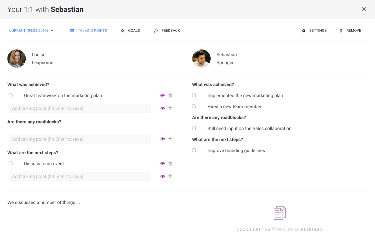 Structured 1-on-1 Meetings Software screenshot showing the interface of the 1 on 1 meetings
