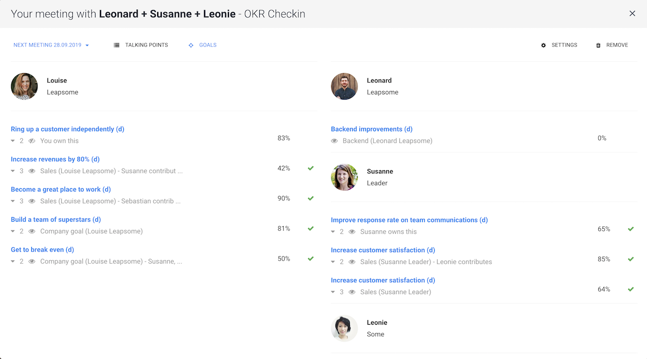 Structured 1-on-1 Meetings Software screenshot showing the integration with employee feedback and praise
