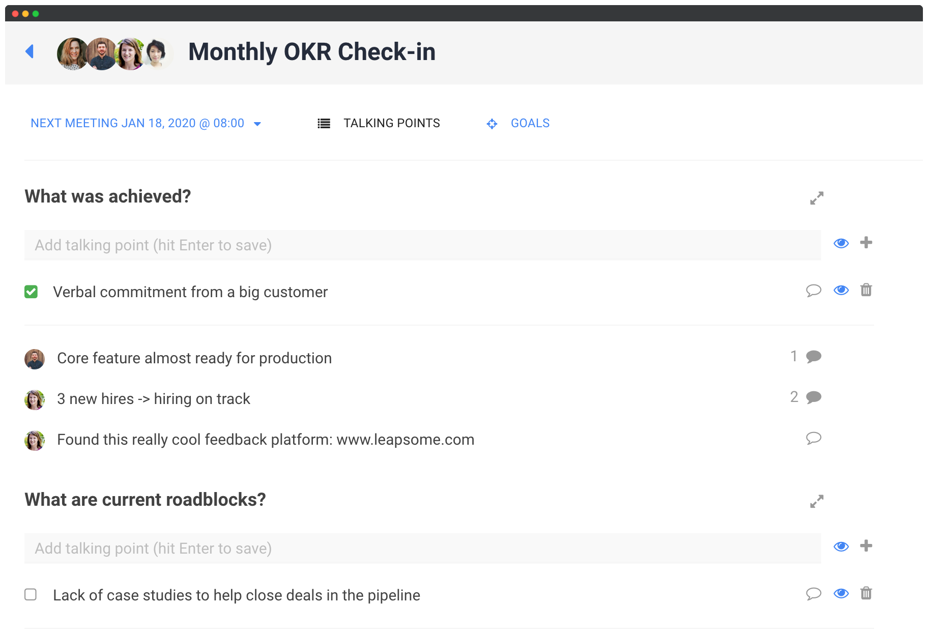 Goal and OKR Management Software screenshot showing goal tracking