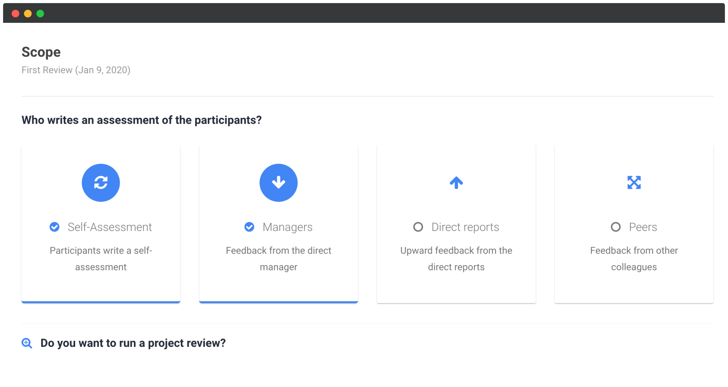 Employee Performance Review Software depicting the self-assessment tab