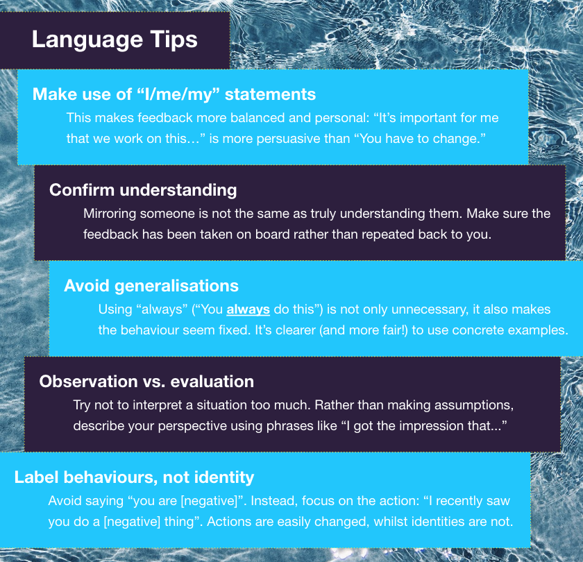 Language tips for giving high quality feedback