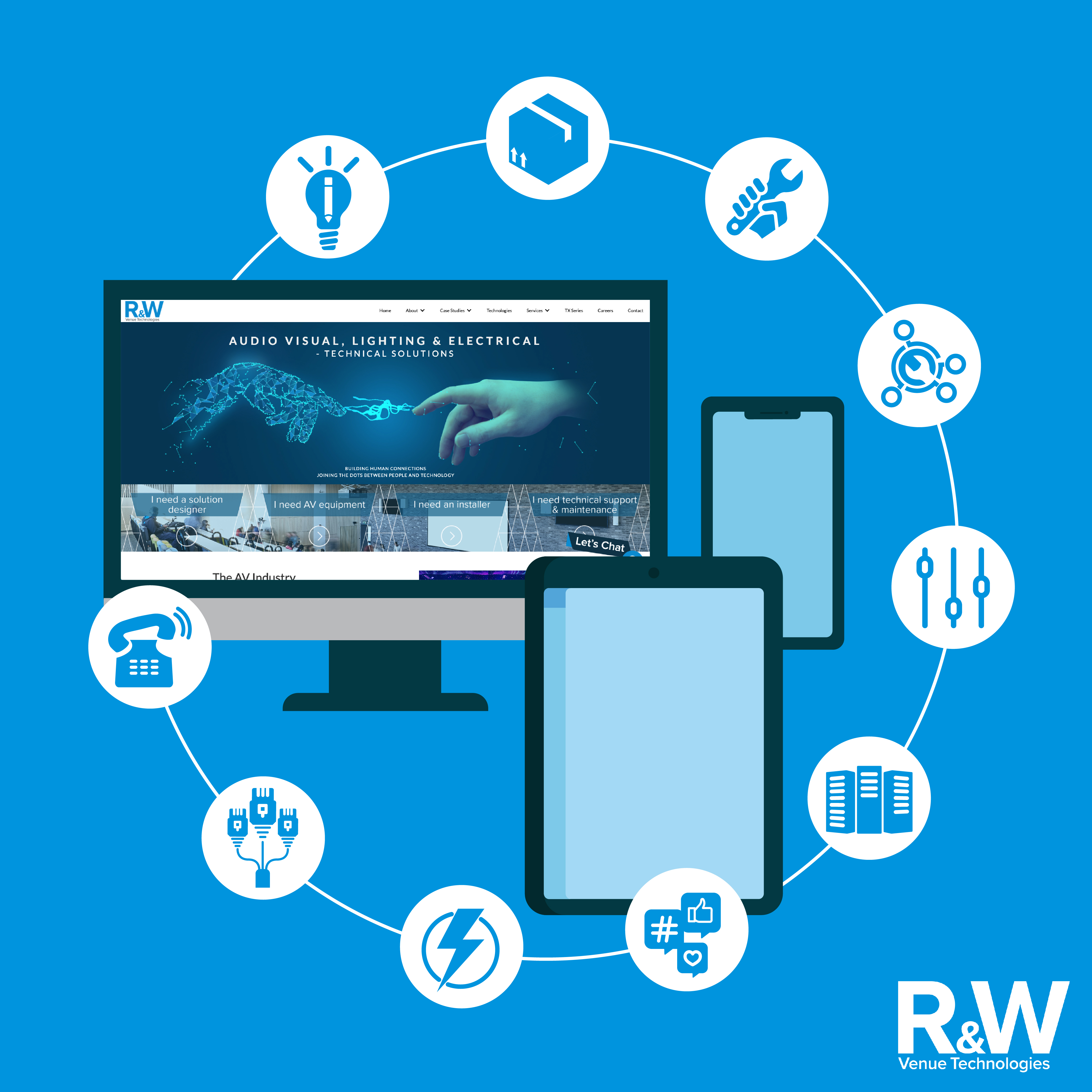 R&W servicing for audio video and lighting installation