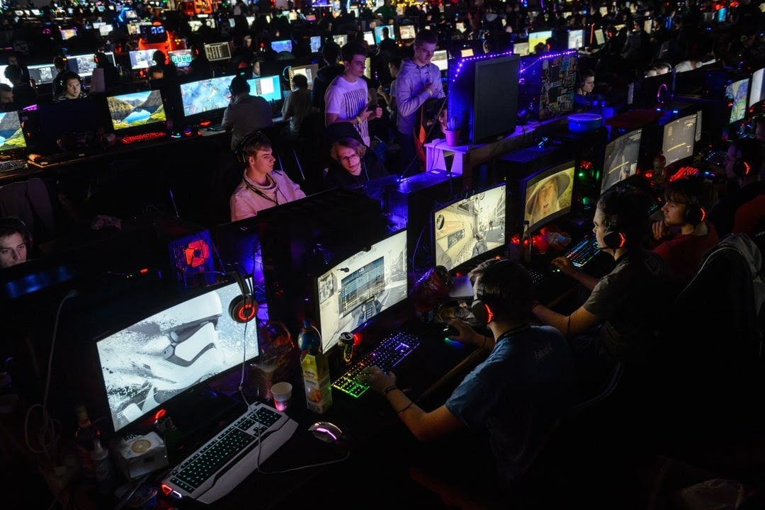 Pro esports athletes competing in a tournament.
