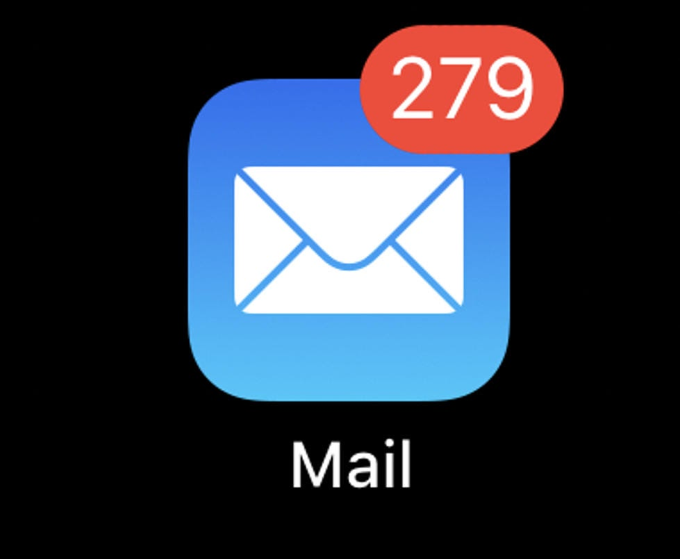 Email blasts result in unread messages, represented here by an email app icon with 279 unread messages.