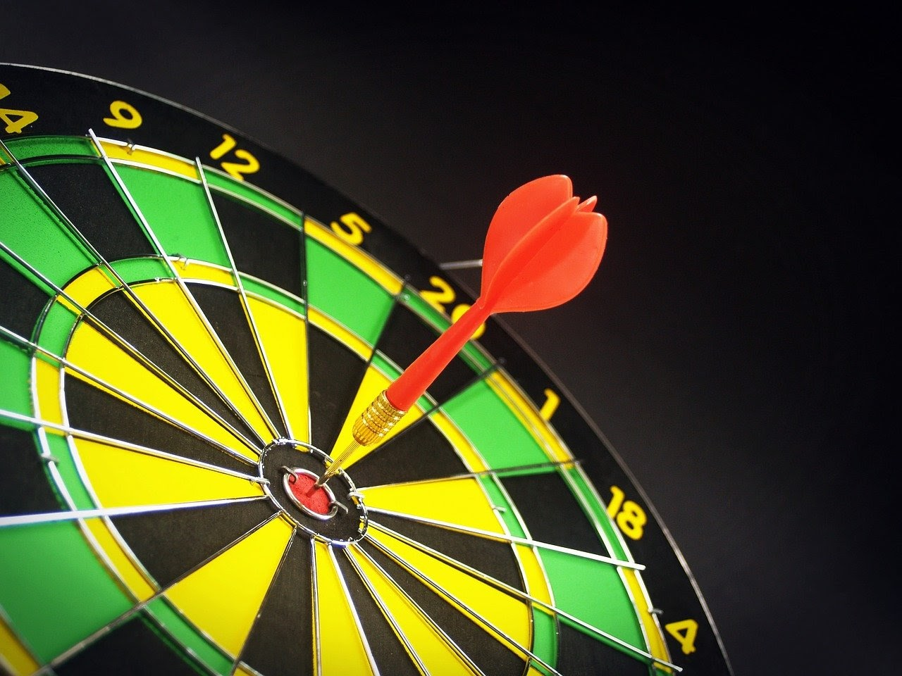 A dart within the bullseye range of a dartboard, which is a visualization of the effectiveness of segmentation for an email blast