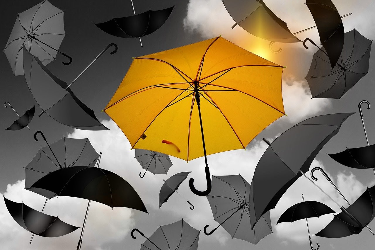 One yellow umbrella sticks out among many black umbrellas, which is a visualization for how personalization can make your email blast stick out