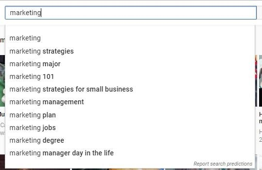 """an example of YouTube autosuggest when you type in """"marketing"""""""