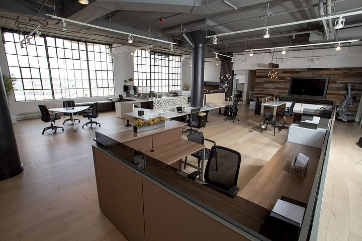 post-Covid means workplaces with defined boundaries, like this one that offers individual & collaborative work spaces