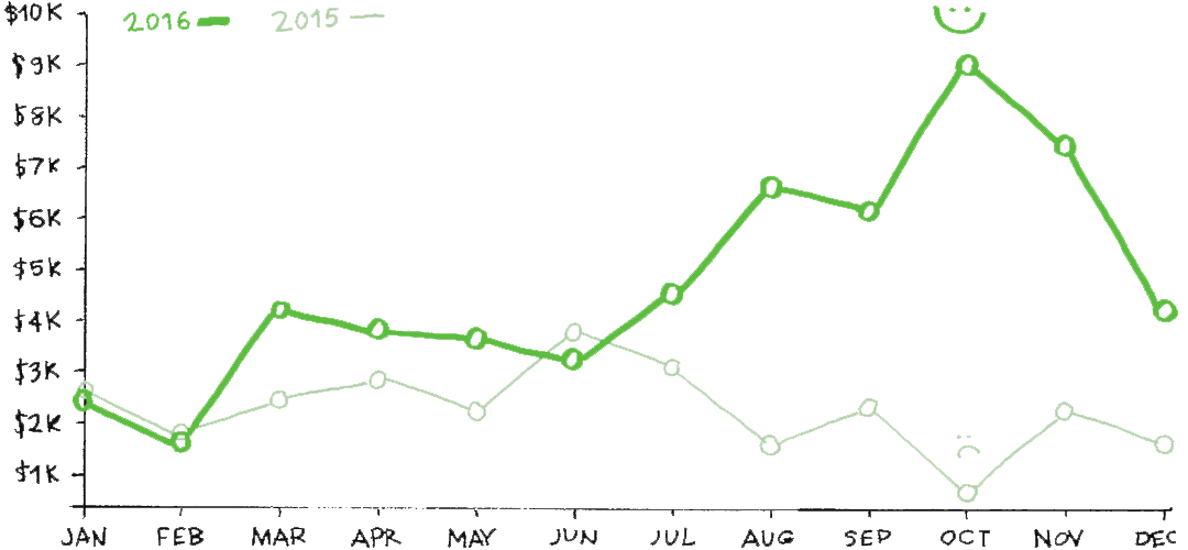 2016 Monthly Revenue Graph