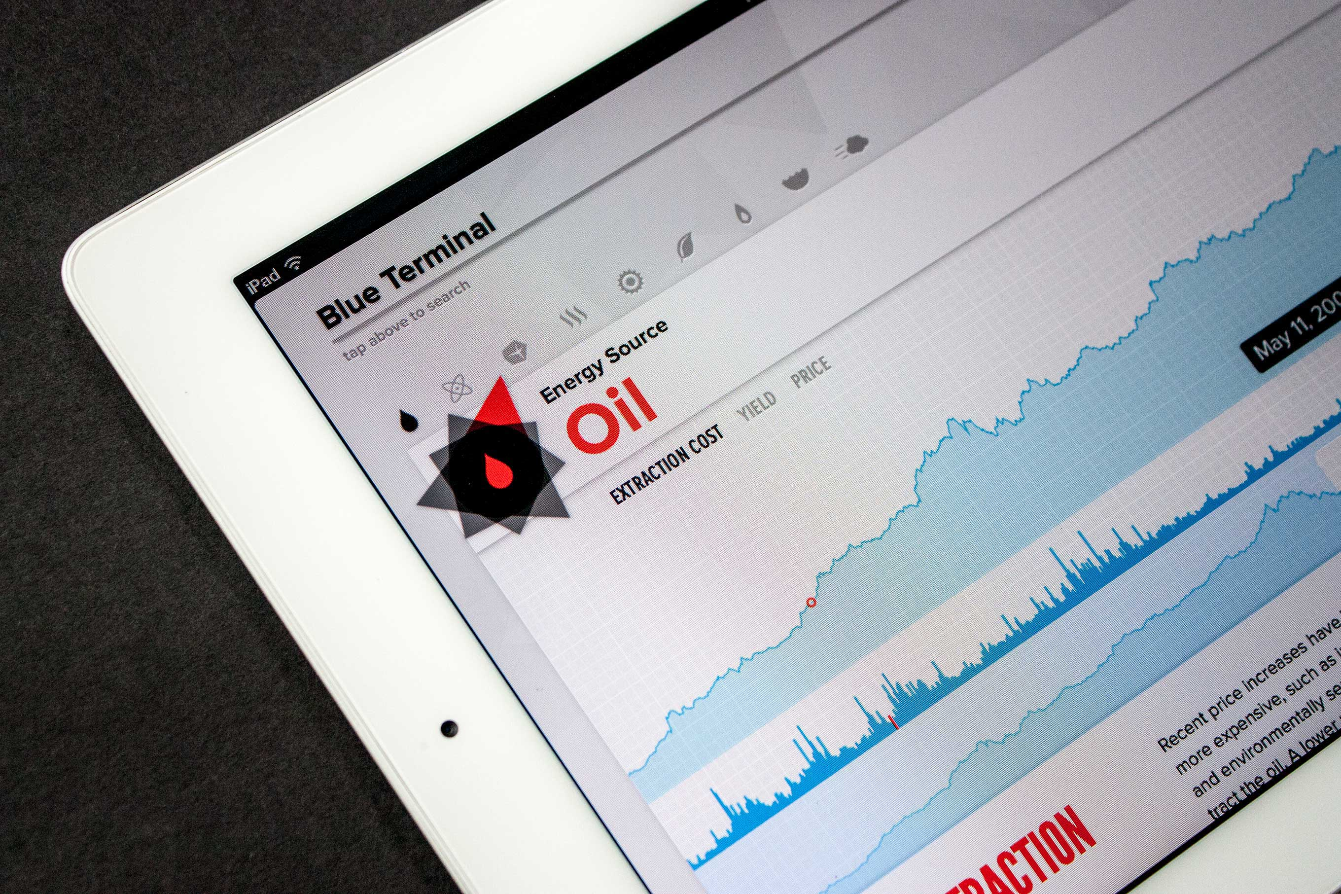 Blue Terminal data visualization interface focused on oil — by Yagnyuk.