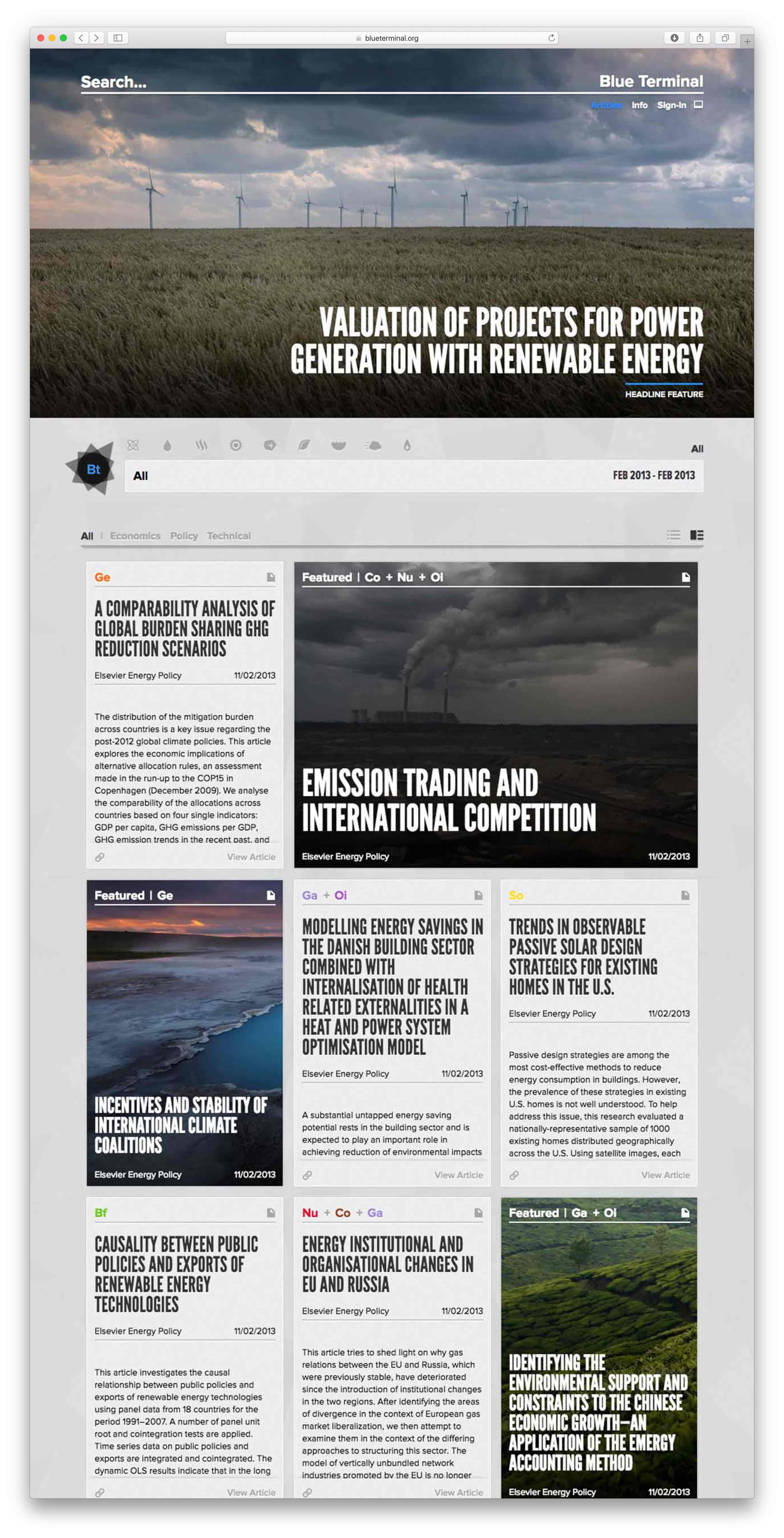 Blue Terminal interface of the news aggregator with a prominent feature story, filtering controls by energy type, and a list of articles — by Yagnyuk.