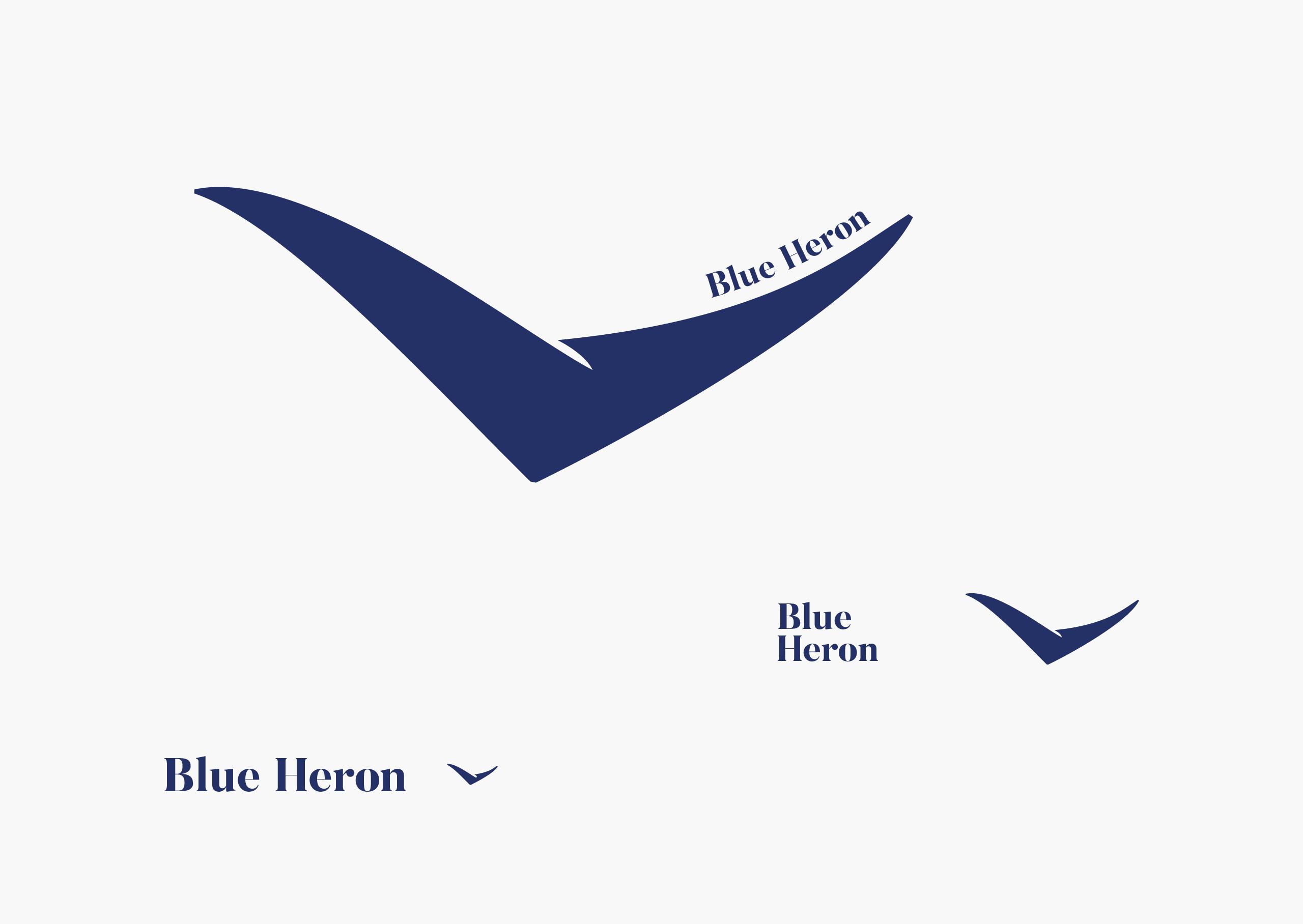 Blue Heron logos in three variations with varying emphasis on wordmark vs blue heron logo — by Dima Yagnyuk.
