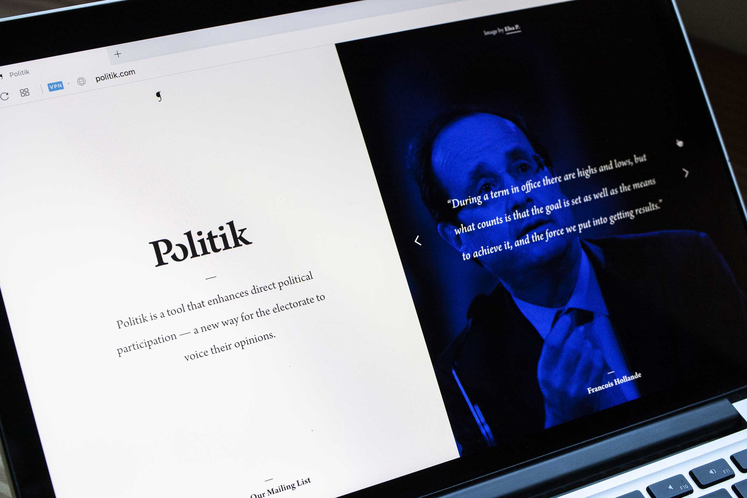 Neon blue Politik page featuring photo and quote from Francois Hollande — by Yagnyuk.