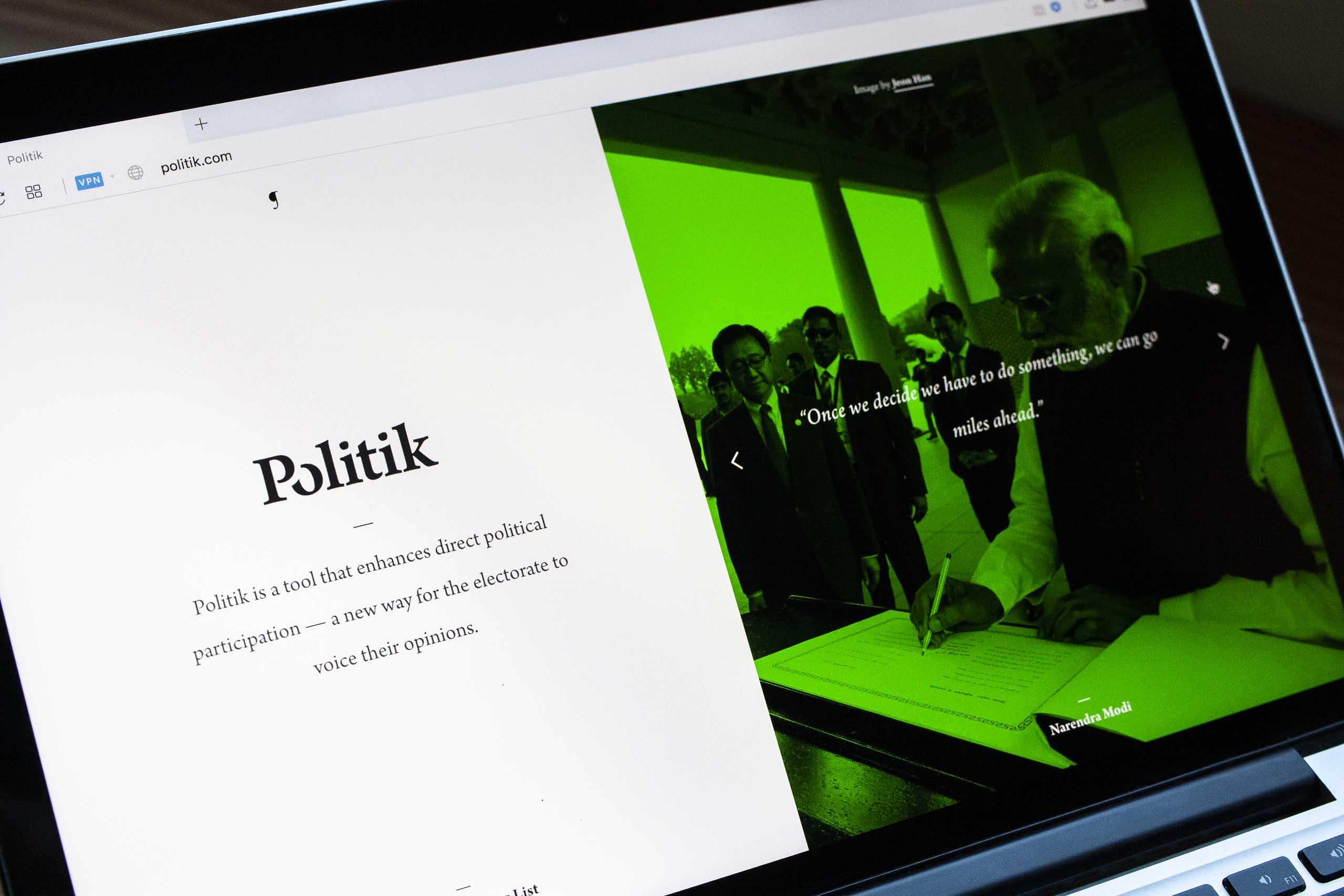Neon green Politik page featuring photo and quote from Narendra Modi — by Yagnyuk.