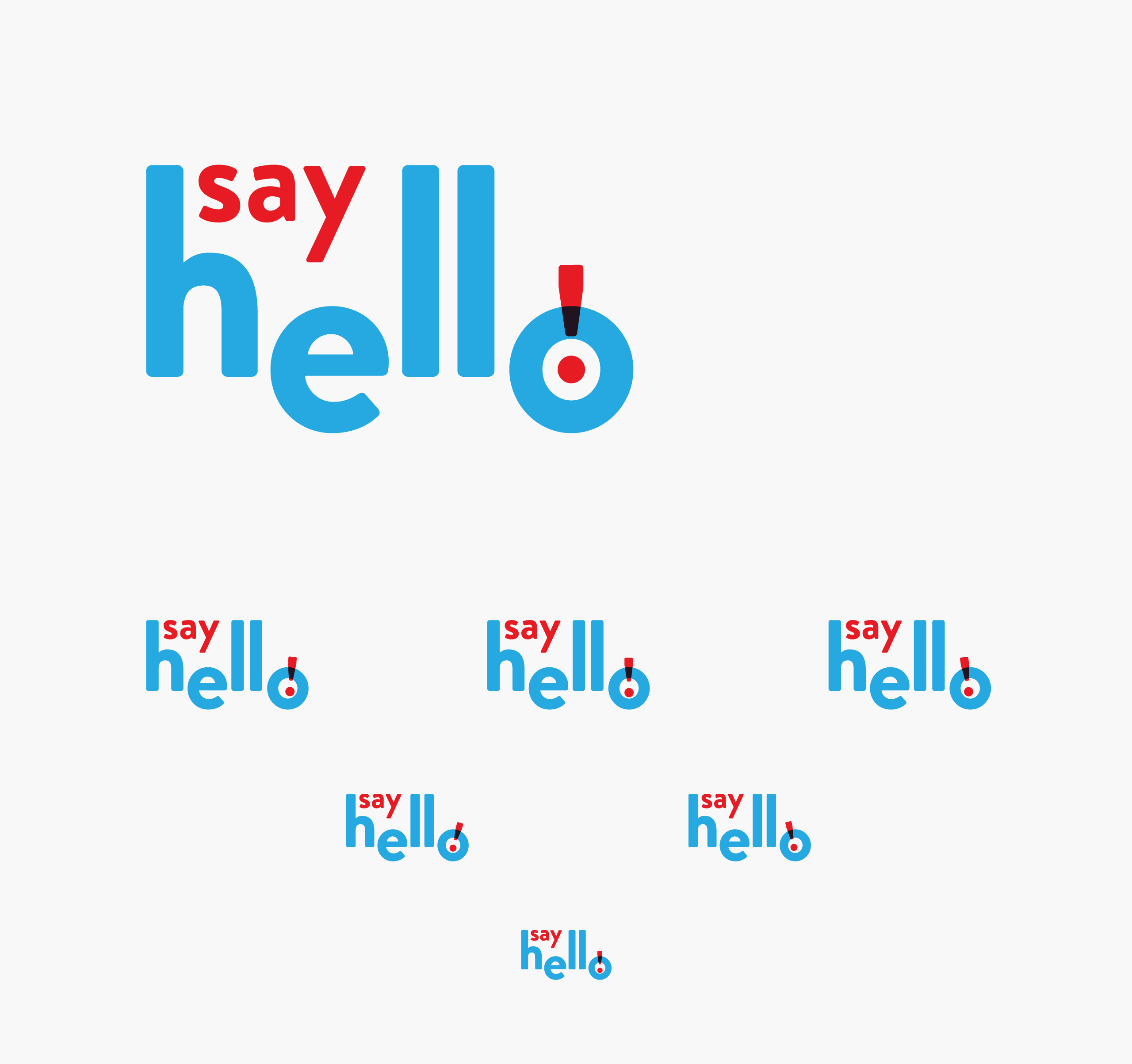 A geometric arrangement of Say Hello logo with all of the eyes looking down from their perspective positions — by Dima Yagnyuk.