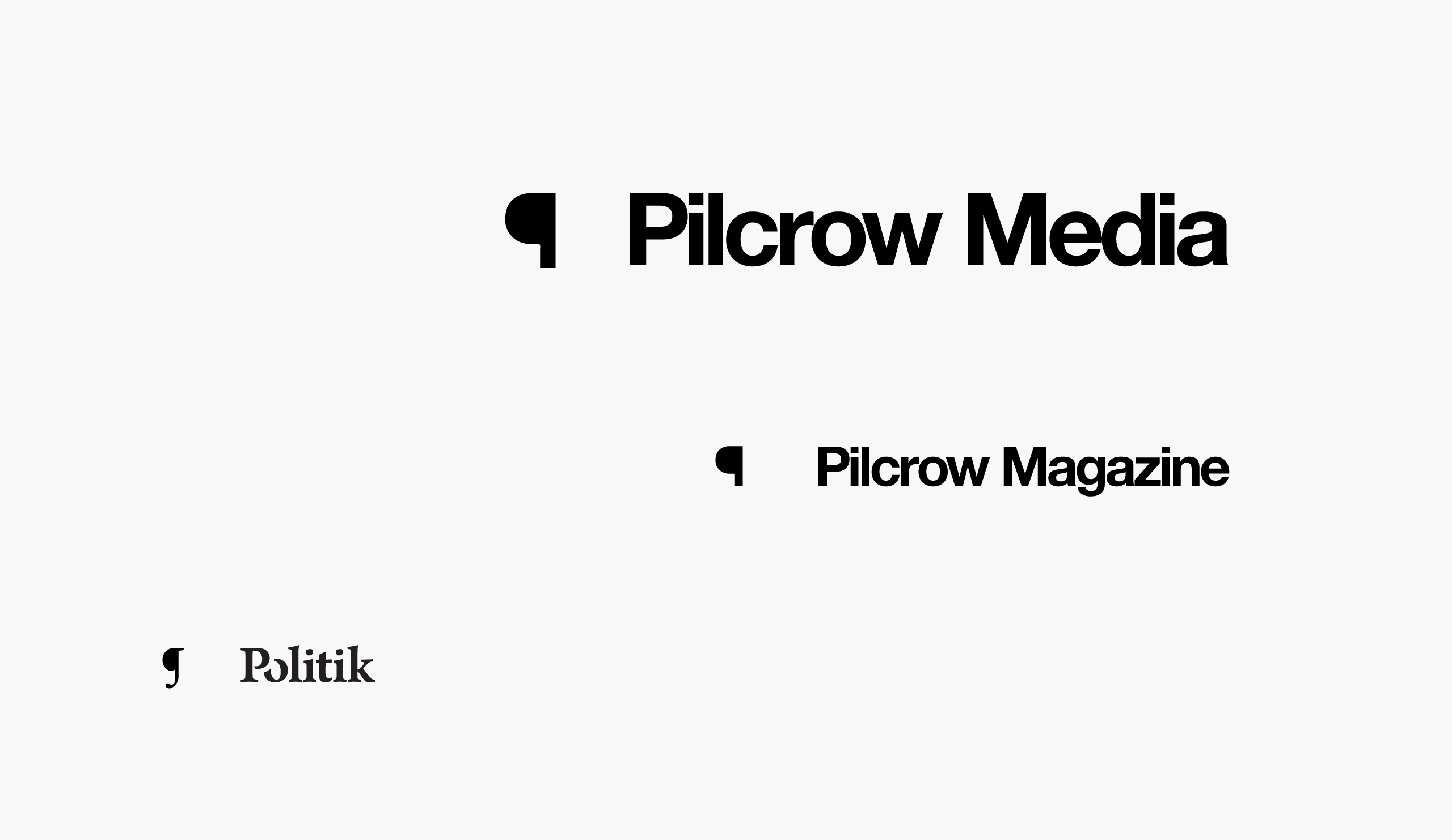 Three main logos for Pilcrow media family of products — Media, Magazine, and Politik — by Dima Yagnyuk.
