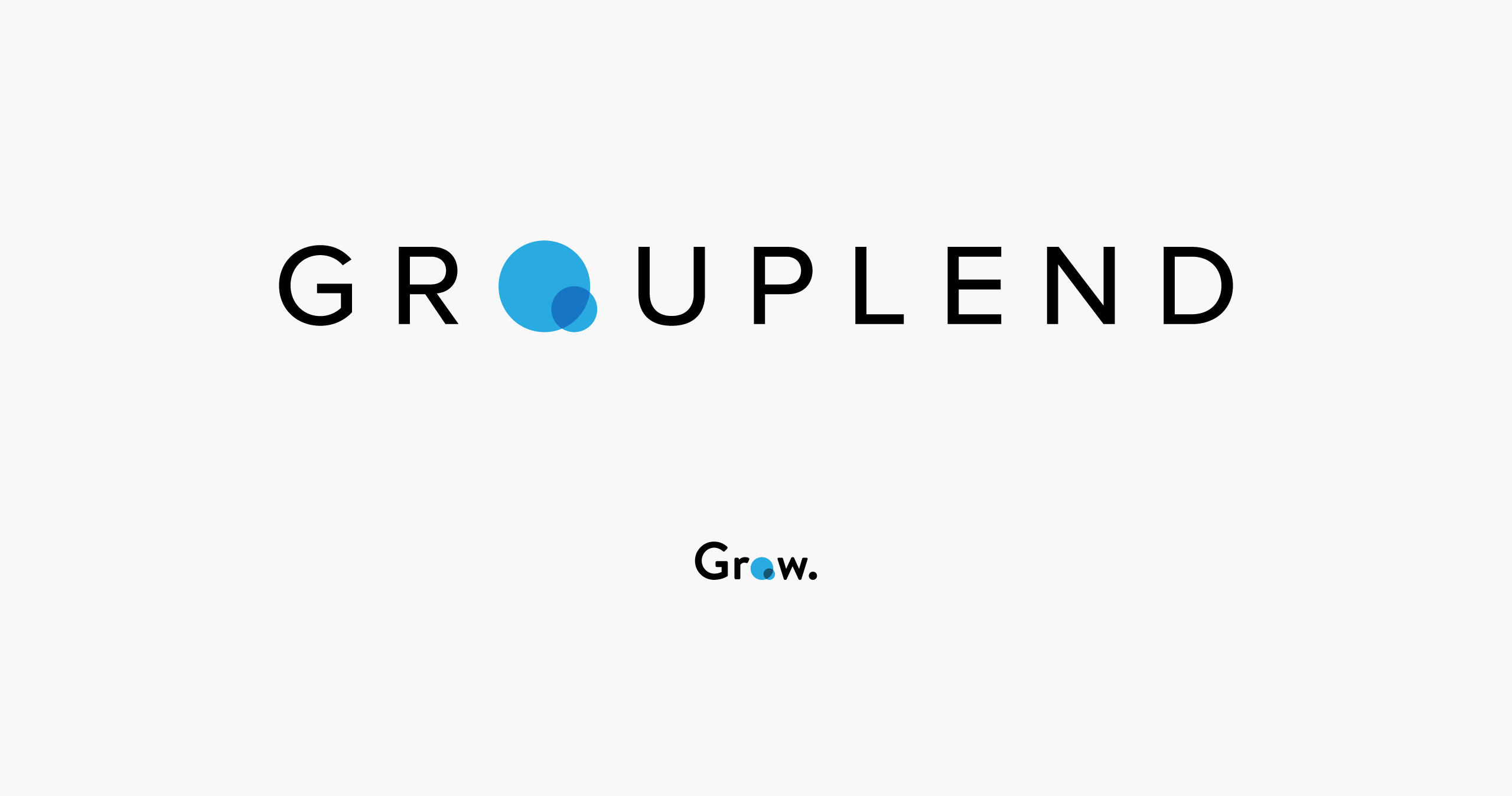 Grouplend logo centered on a light grey background with its descendent Grow financial logo below it — by Yagnyuk.