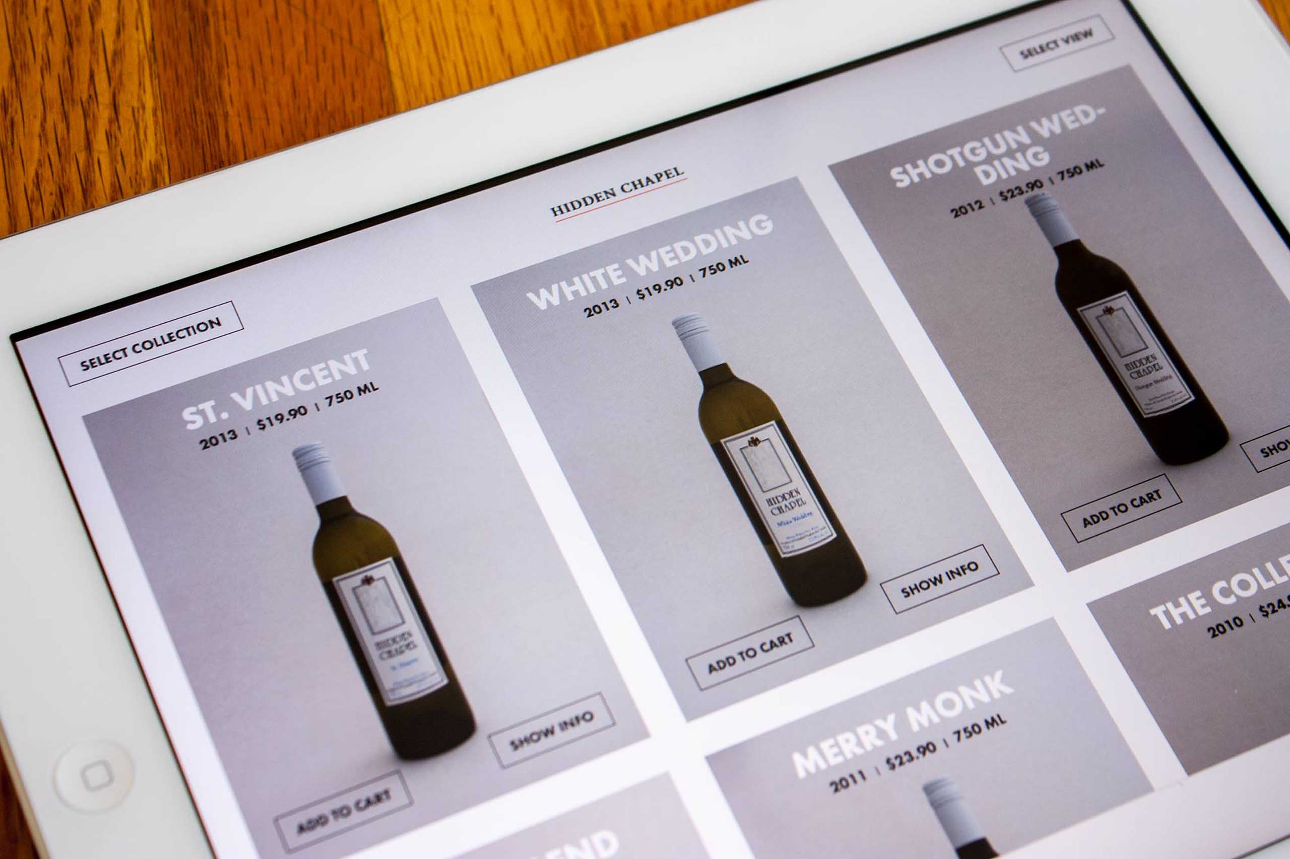 A product grid of wines for hidden chapel winery page on the New District E-Commerce platform — by Yagnyuk.