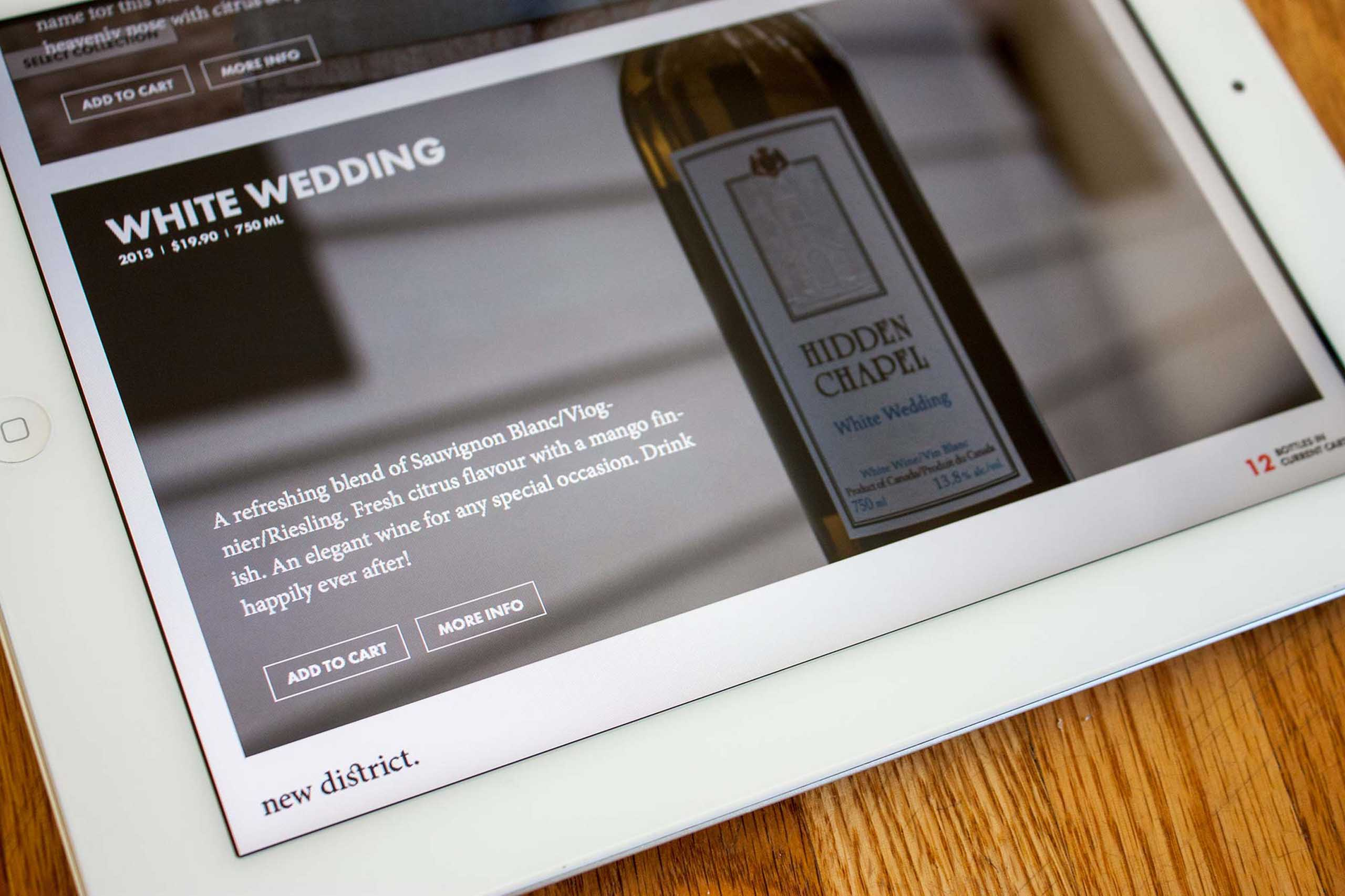 Details product card for a white wedding hidden chapel wine with an in depth description and add to card plus more info buttons — by Dima.