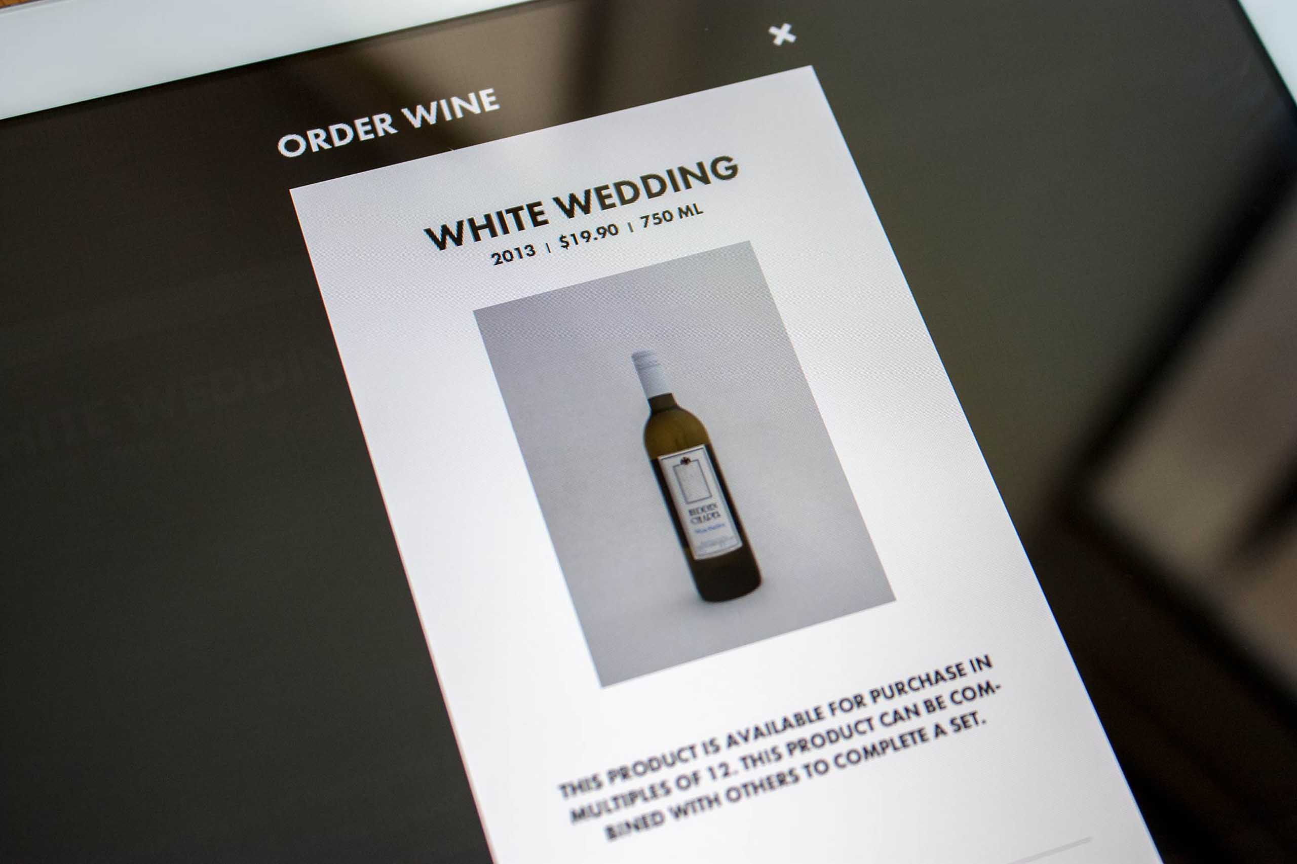 Add to cart modal for White Wedding wine by Hidden Chapel — by Yagnyuk.