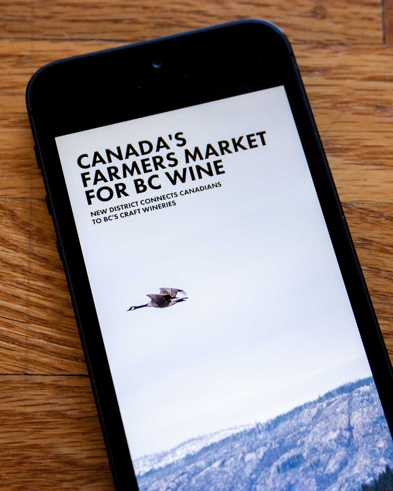 New District article on Canada's Farmers market or wine set against a full screen image of a goose flying against a mountain backdrop — by Yagnyuk.