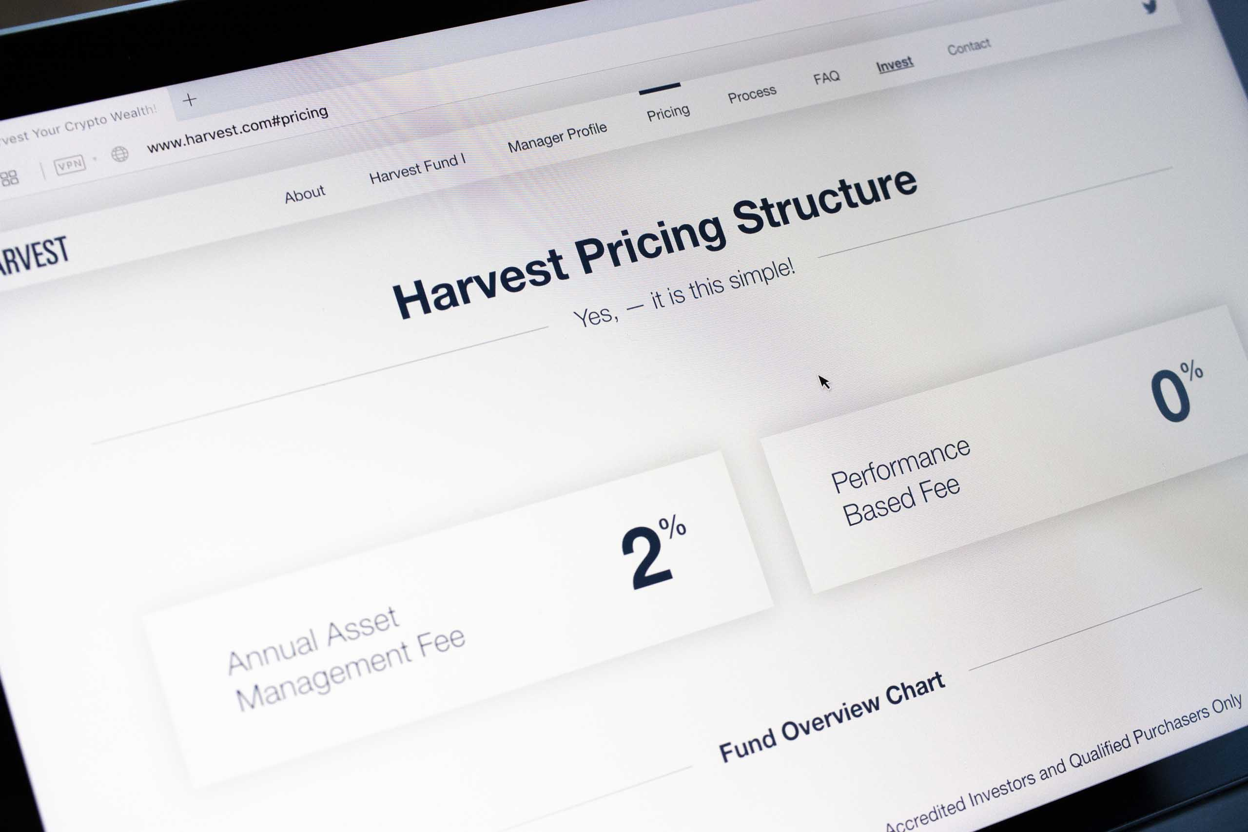 Havest Pricing Structure user interface section showing the two simple options — by Dima Yagnyuk.