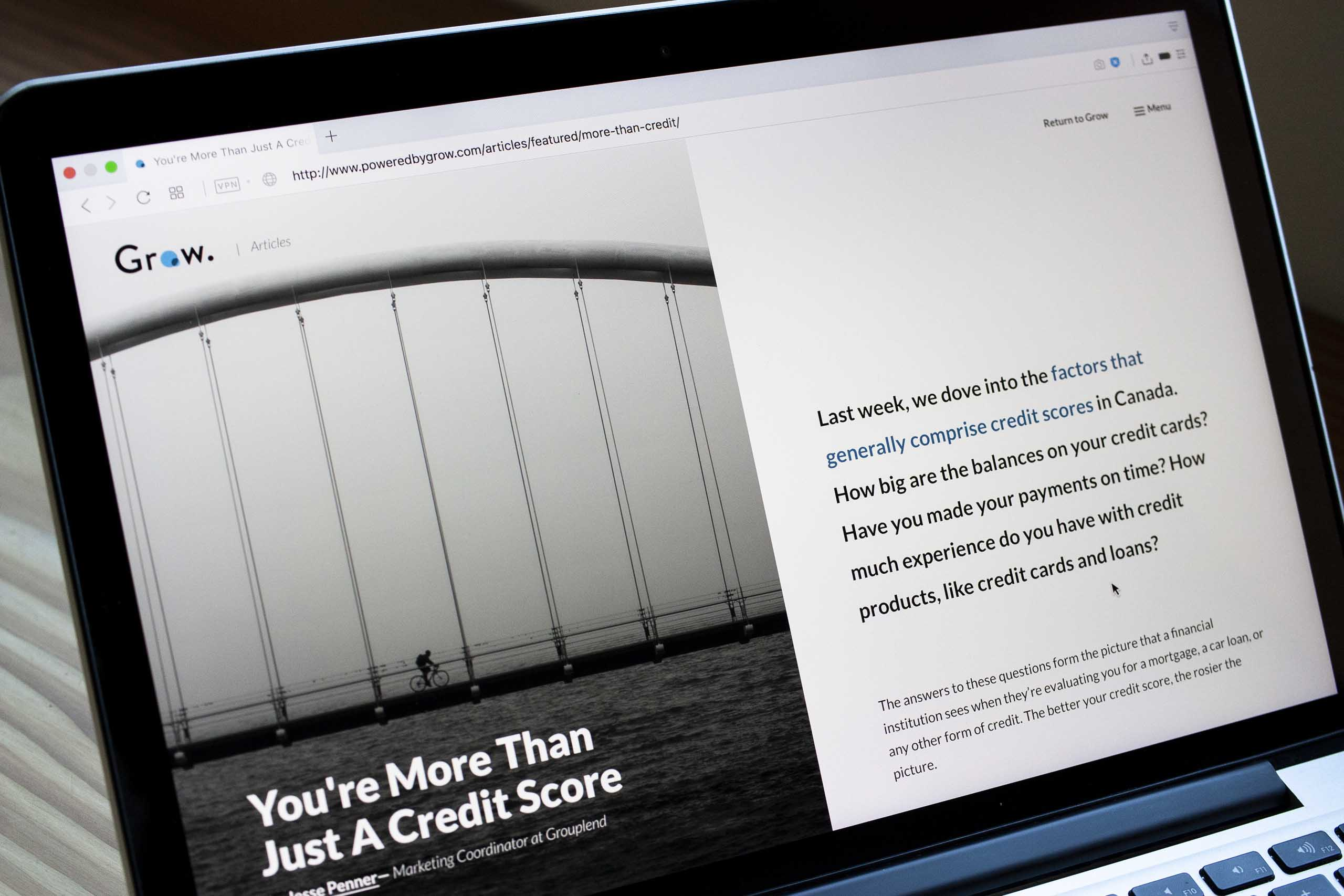 Grow financial blog article about personal credit scores — by Dima Yagnyuk.