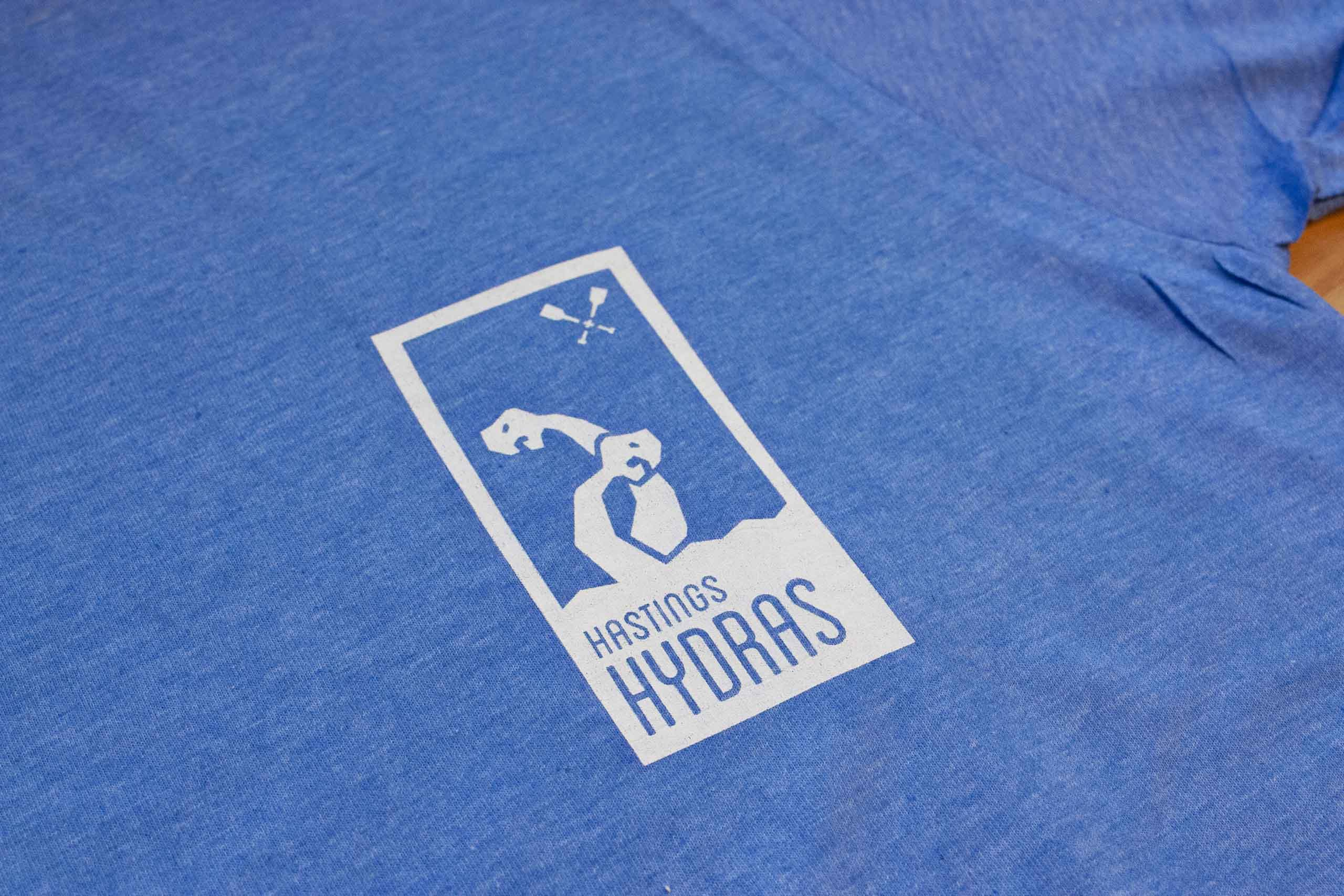 Close up of Hastings Hydras logo on a shirt — by Yagnyuk.