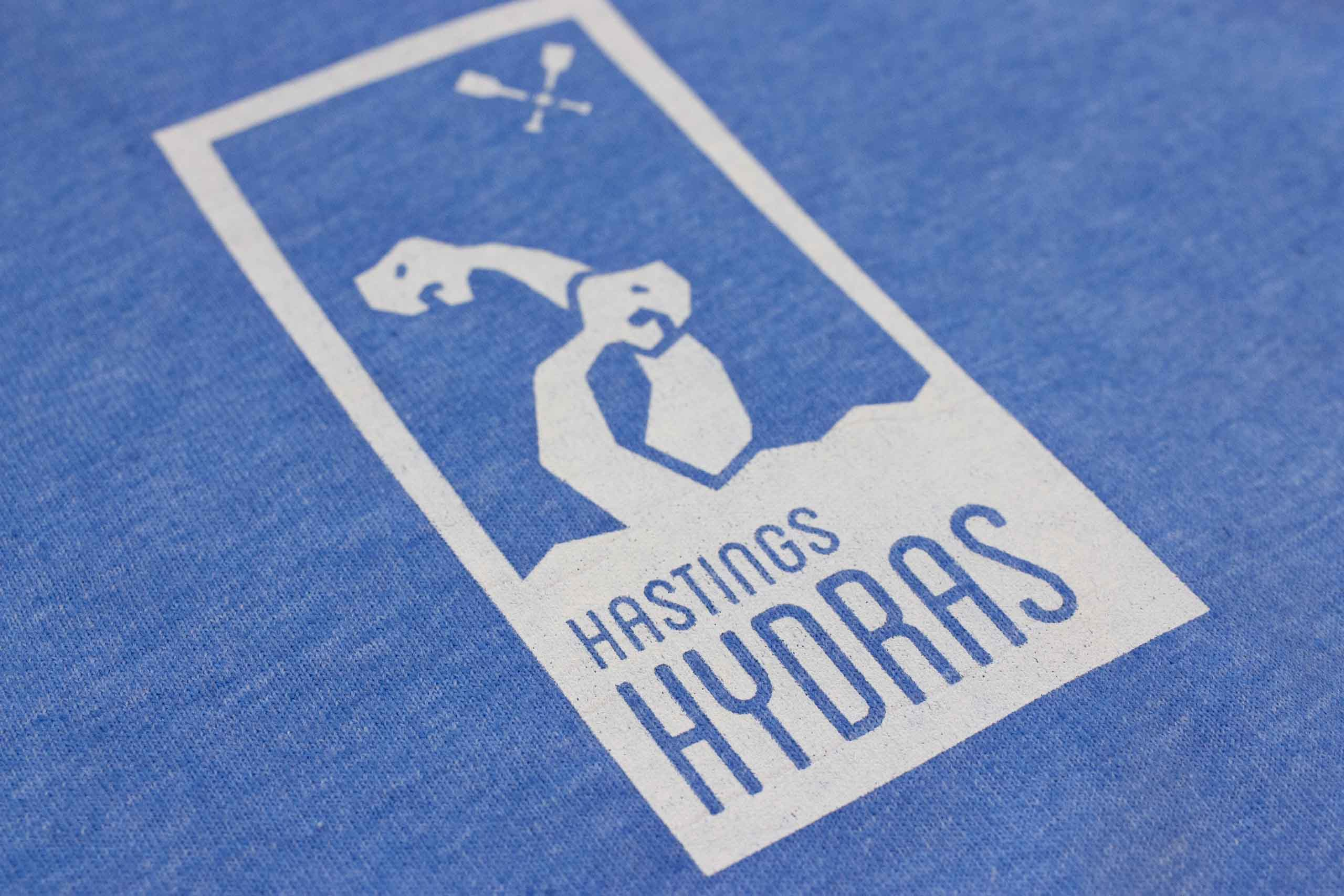 Macro Shot of Hasting Hydras logo on the shirt showing printed details — by Yagnyuk.