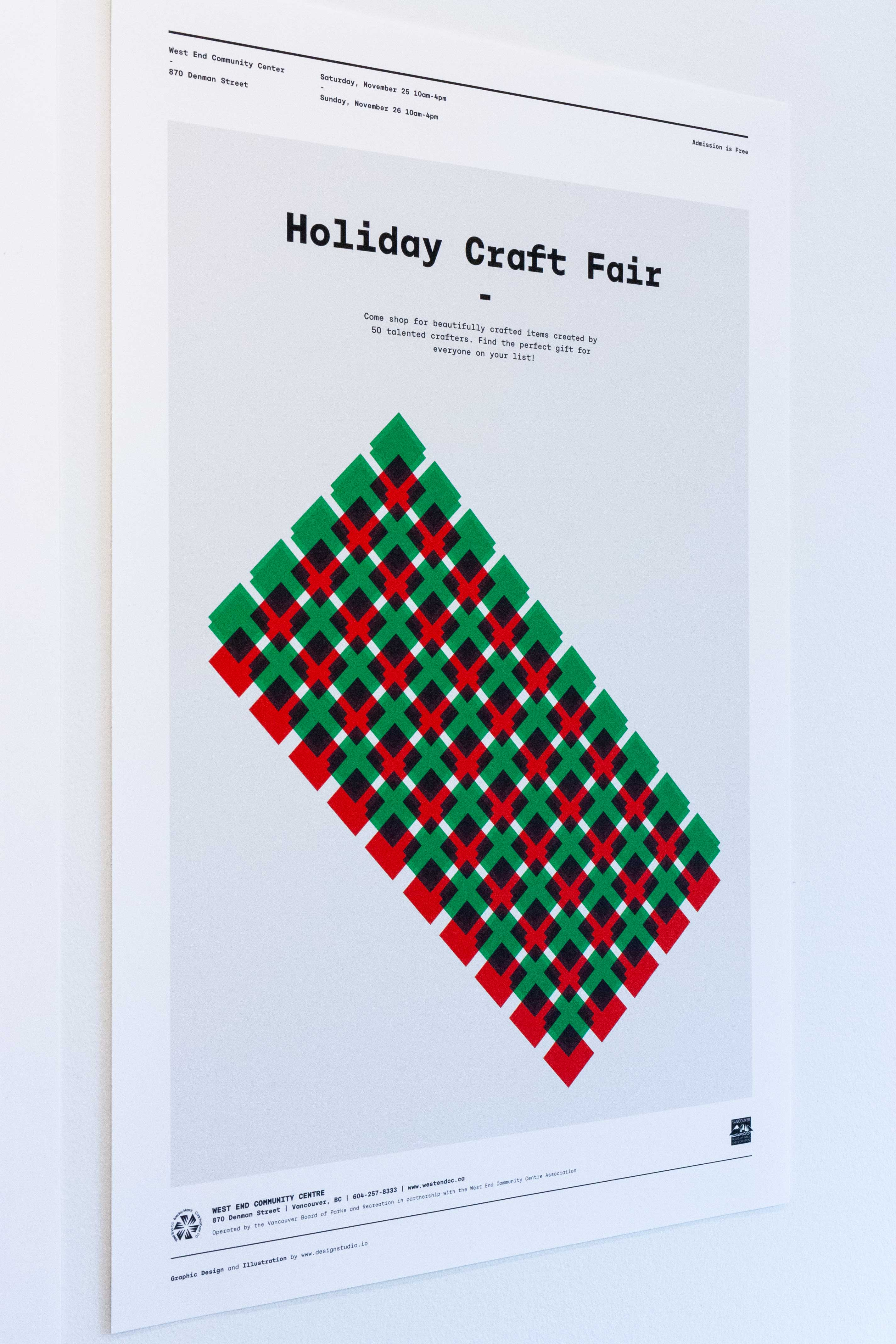 Holiday Craft Fair poster is created out of a series of overlapping triangles forming a gift box pattern — by Yagnyuk.