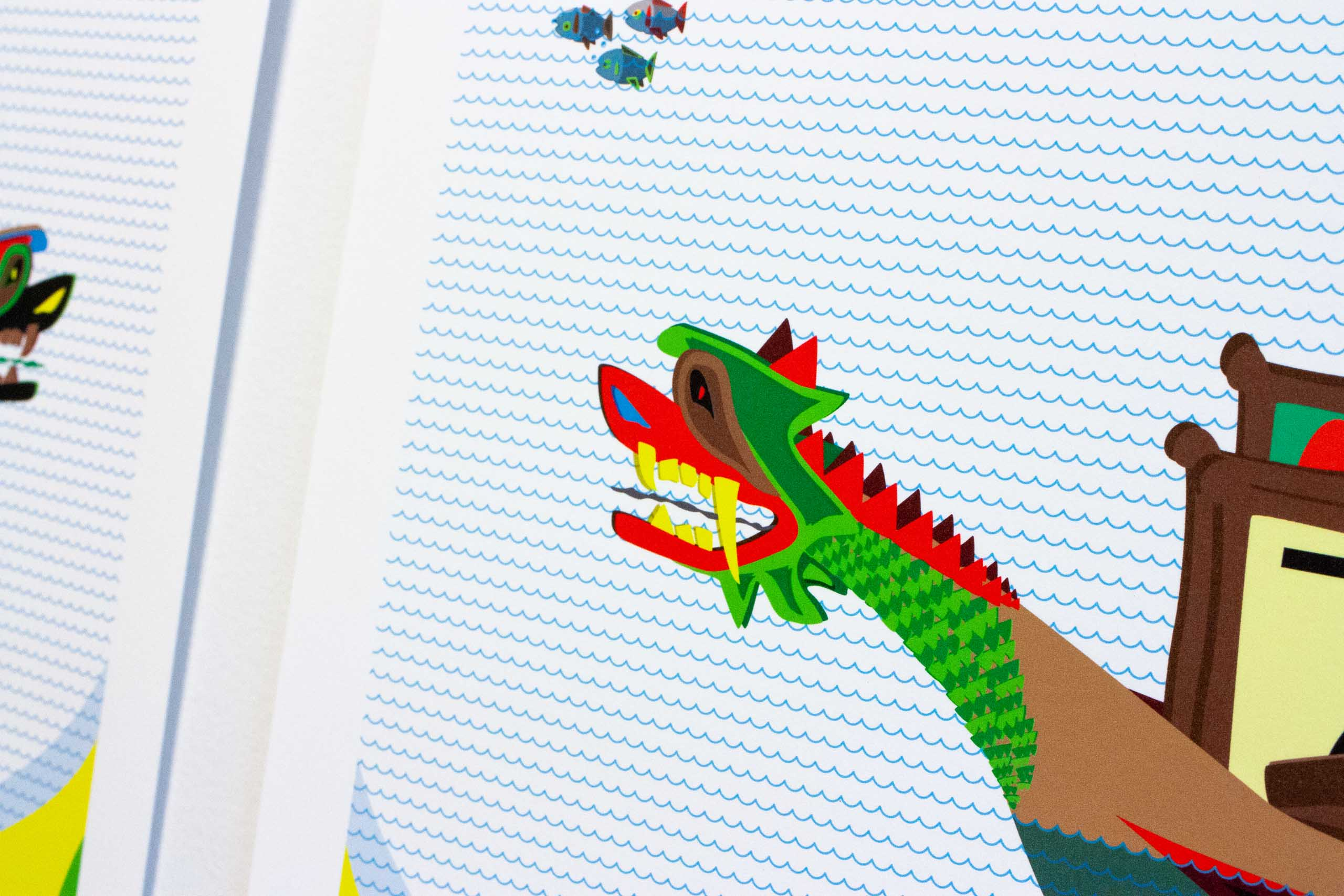Close up of dragon head on a poster for Dragon Boat Festival Artisan market— by Yagnyuk.