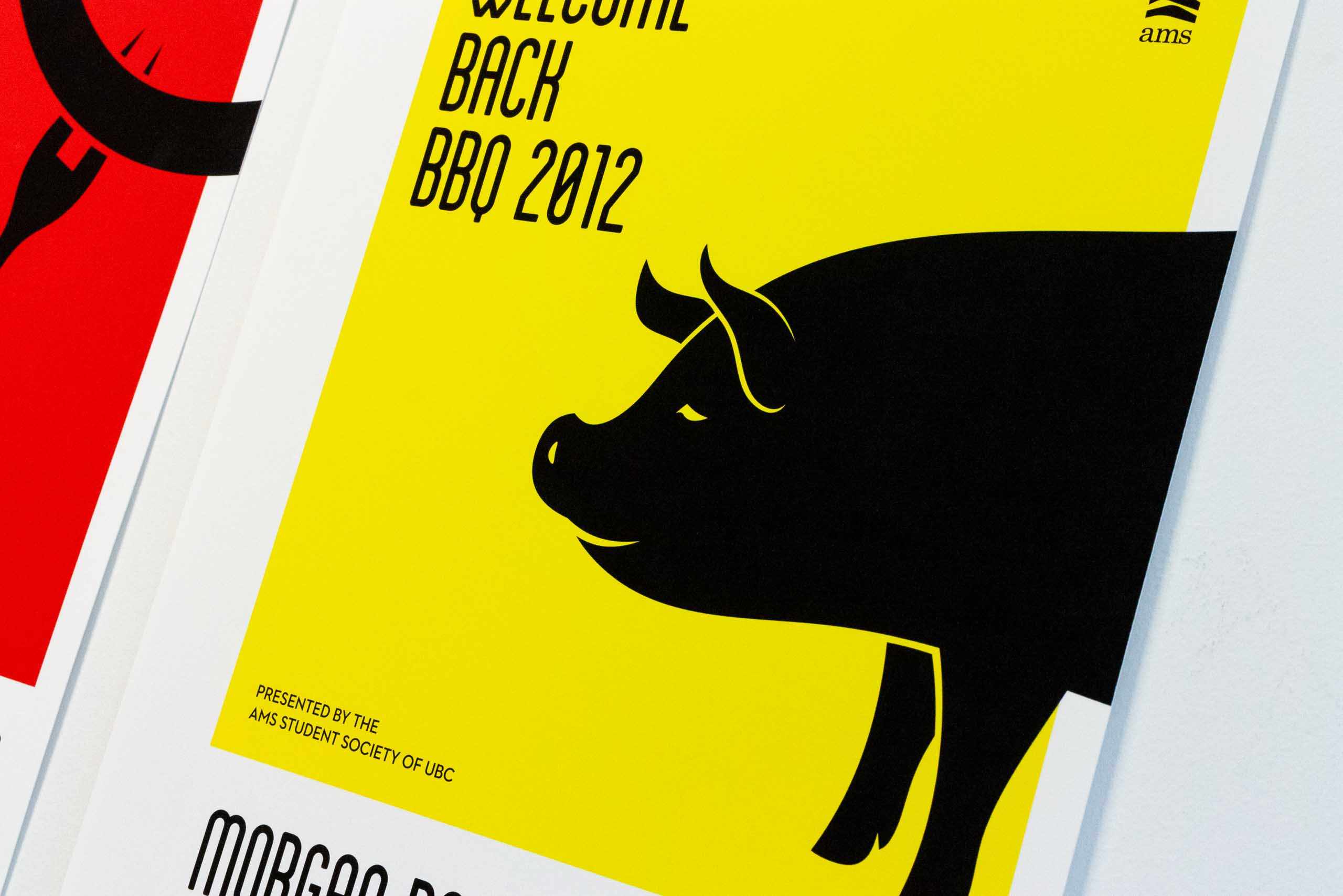 Close up on pork illustration on the yellow poster for the UBC Music festival — by Yagnyuk.