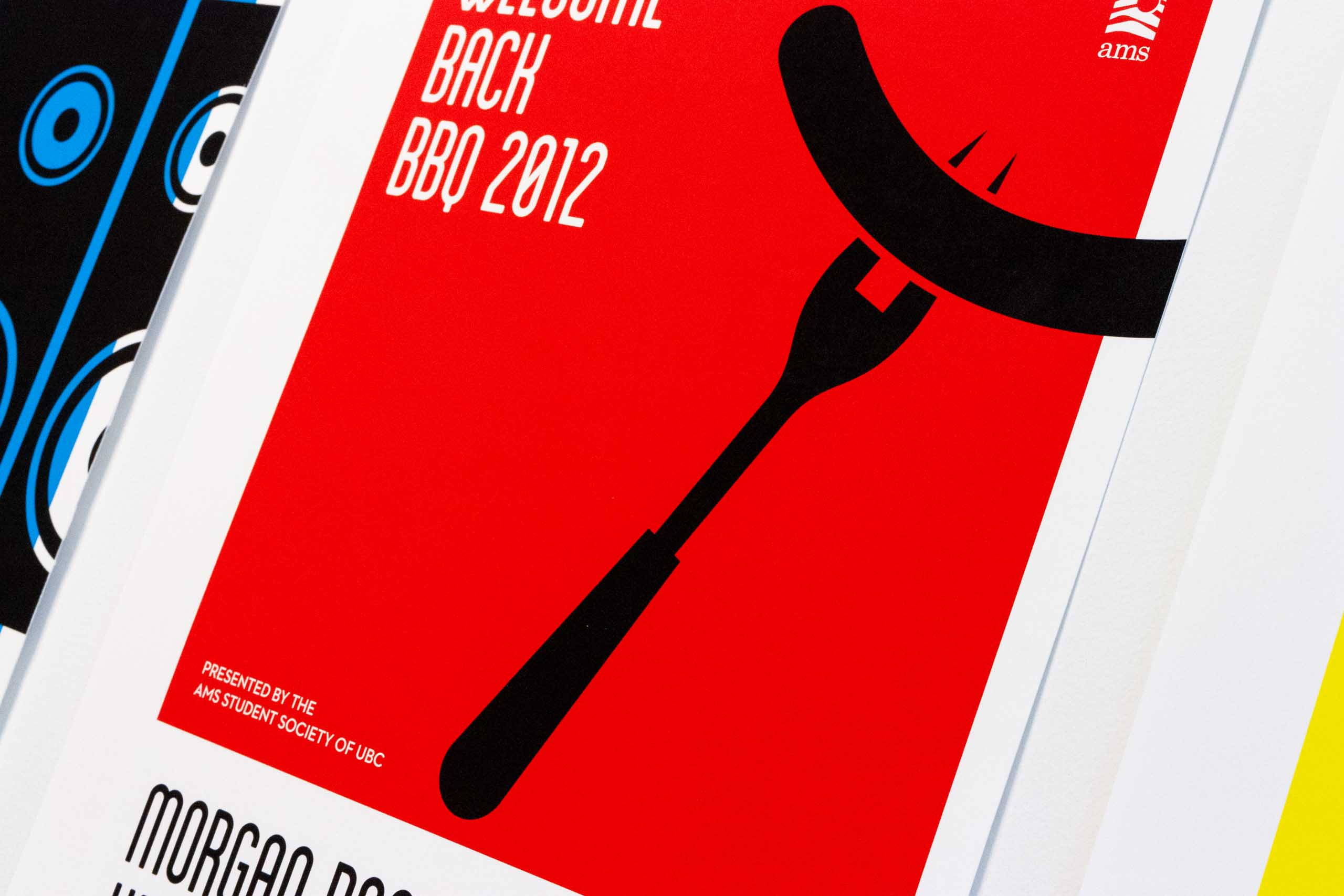 Close up of the fork and sausage illustration on the red poster for UBC Student Music Festival — by Yagnyuk.
