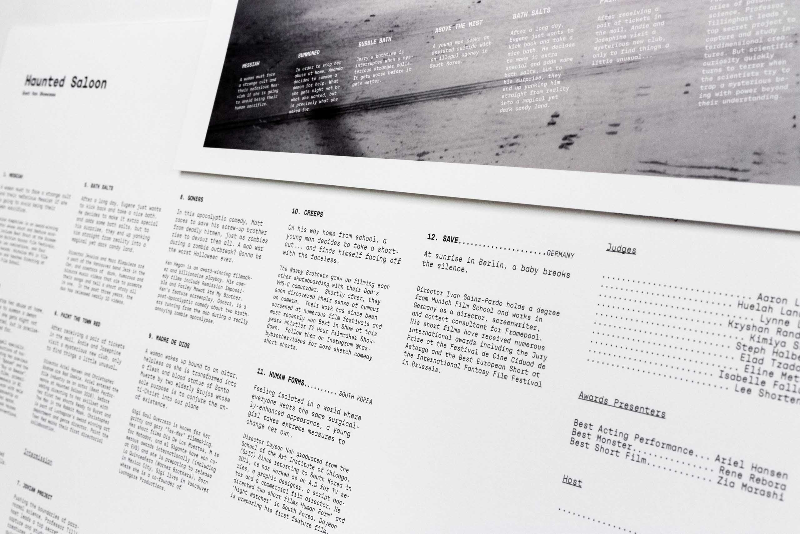 Close up of film titles and descriptions set in Rational Typeface on a grid based layout — by Yagnyuk.