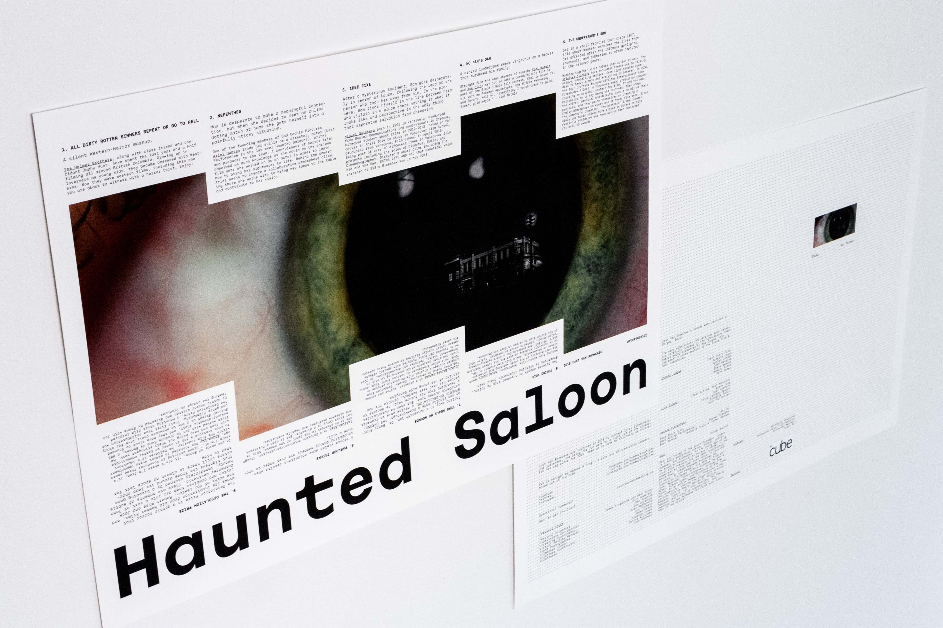 Haunted Saloon poster featuring a close-up of a bloodshot eye — by Yagnyuk.