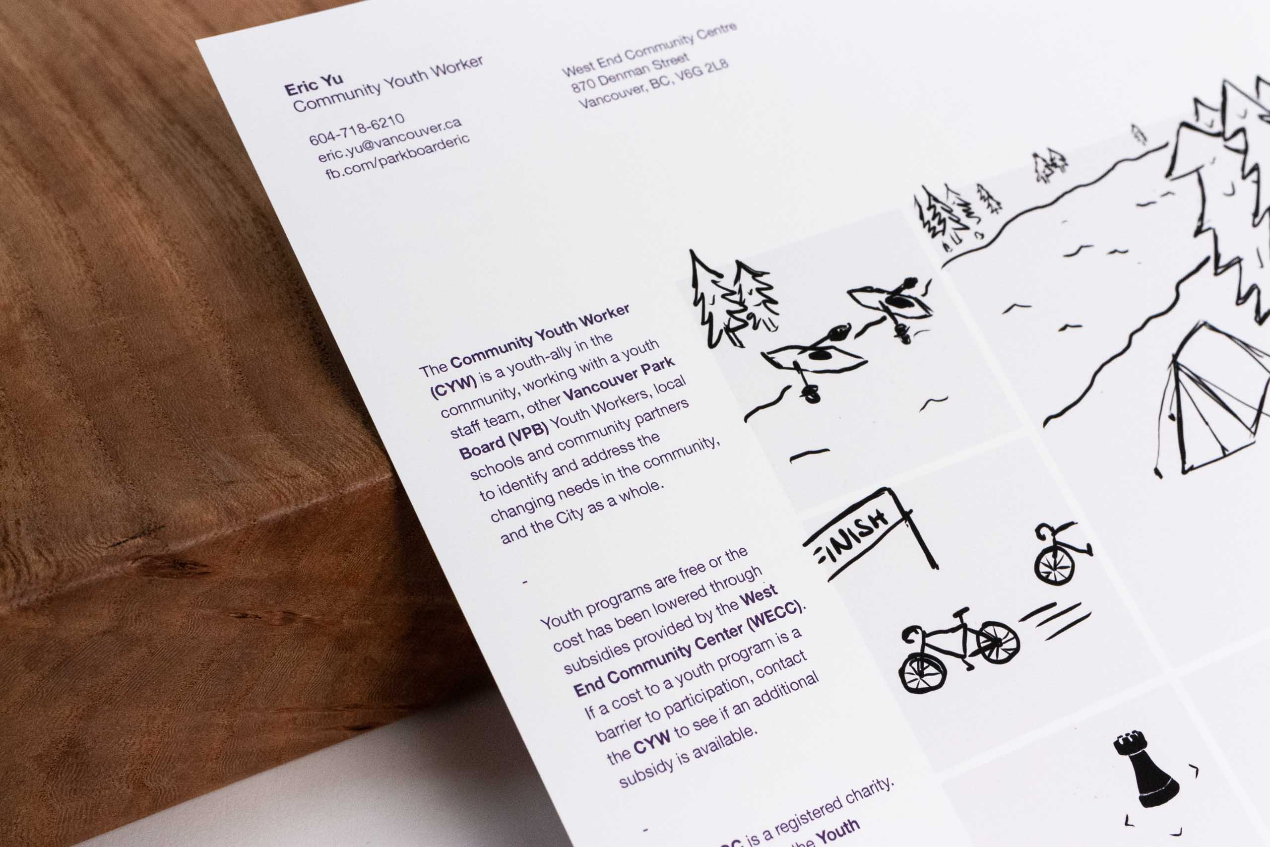 Close up of the illustration and contact information set in Helvetica Neue — by Yagnyuk.