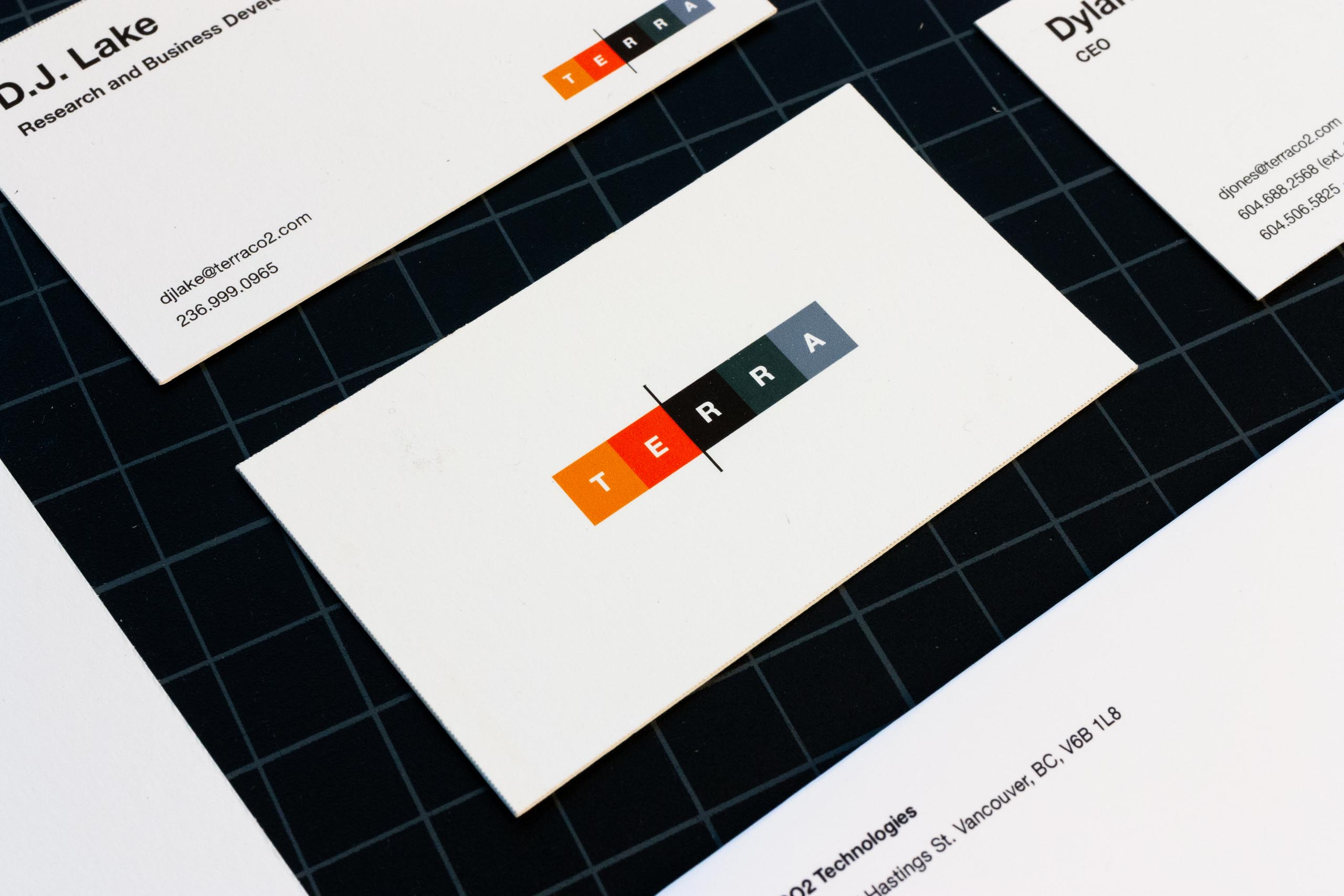 Close up fo Terra CO2 technologies business card — by Yagnyuk.