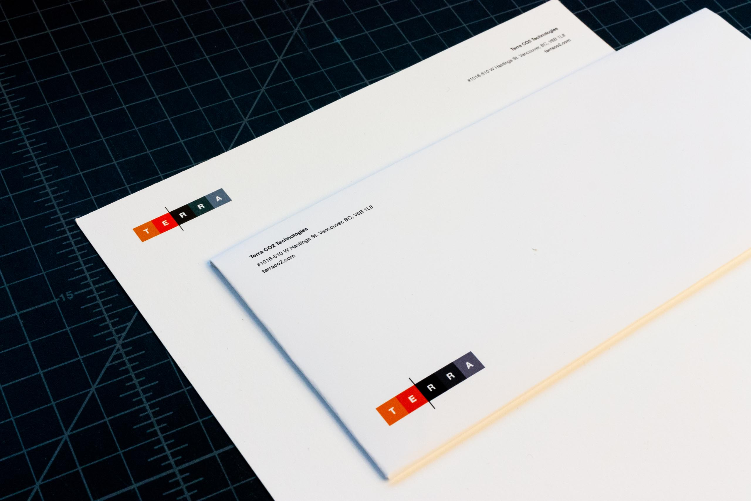 Close up of letterhead and envelope for Terra CO2 Technologies — by Yagnyuk.
