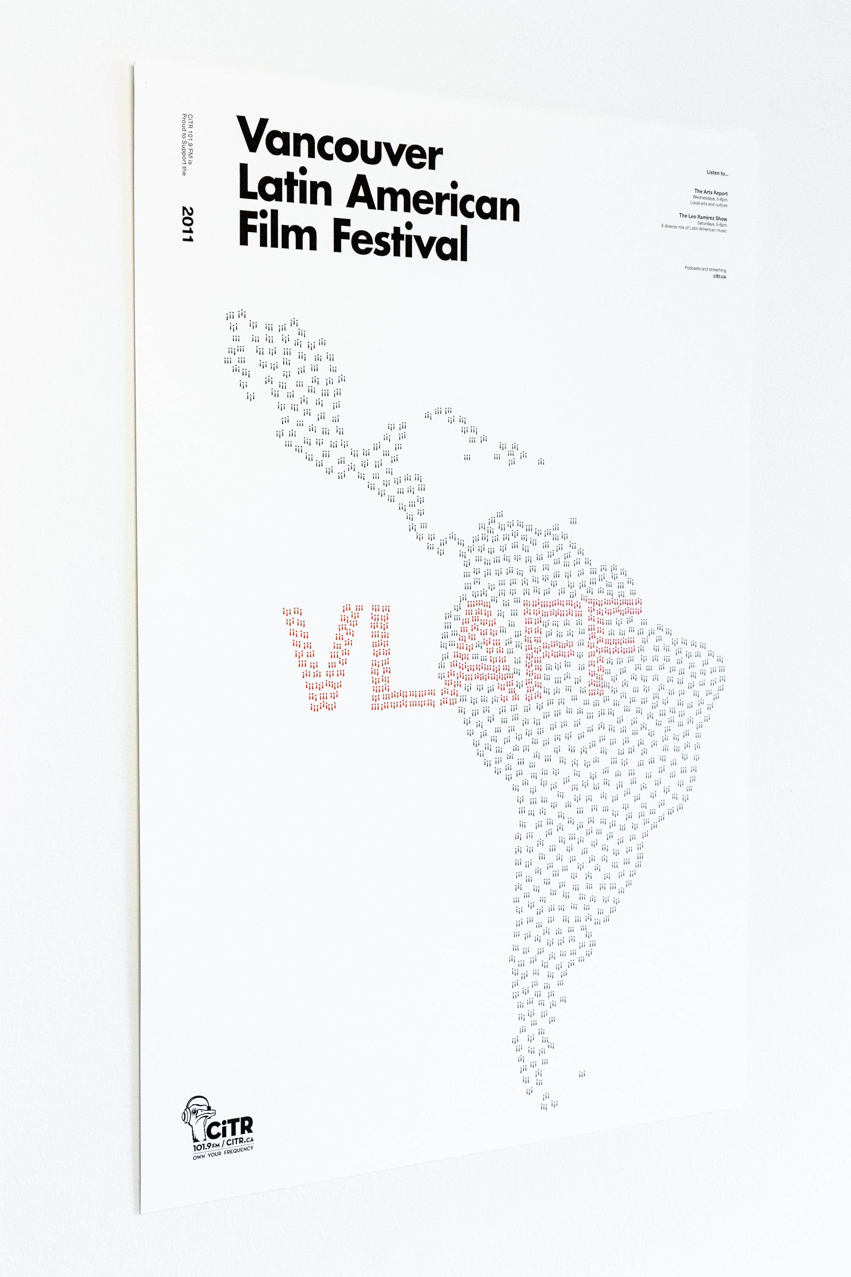 Poster using exclamation marks to form a shape of Latin America screaming out VLAFF — by Yagnyuk.