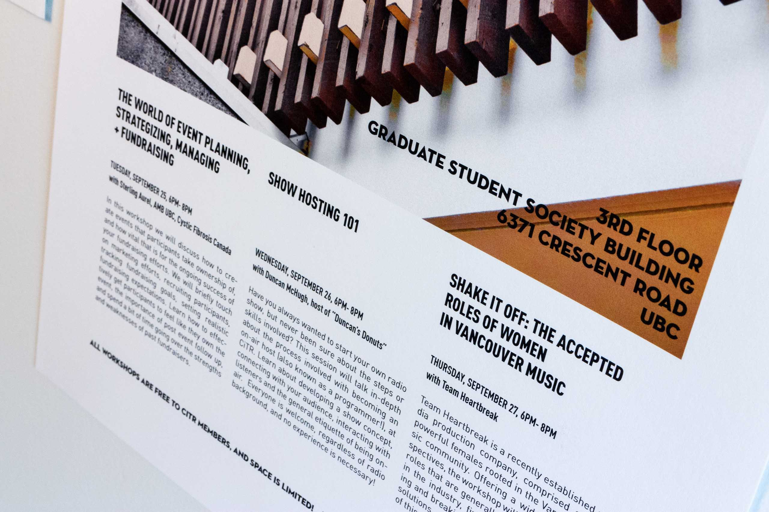 Close up of poster covering show events on a three column grid — by Yagnyuk.