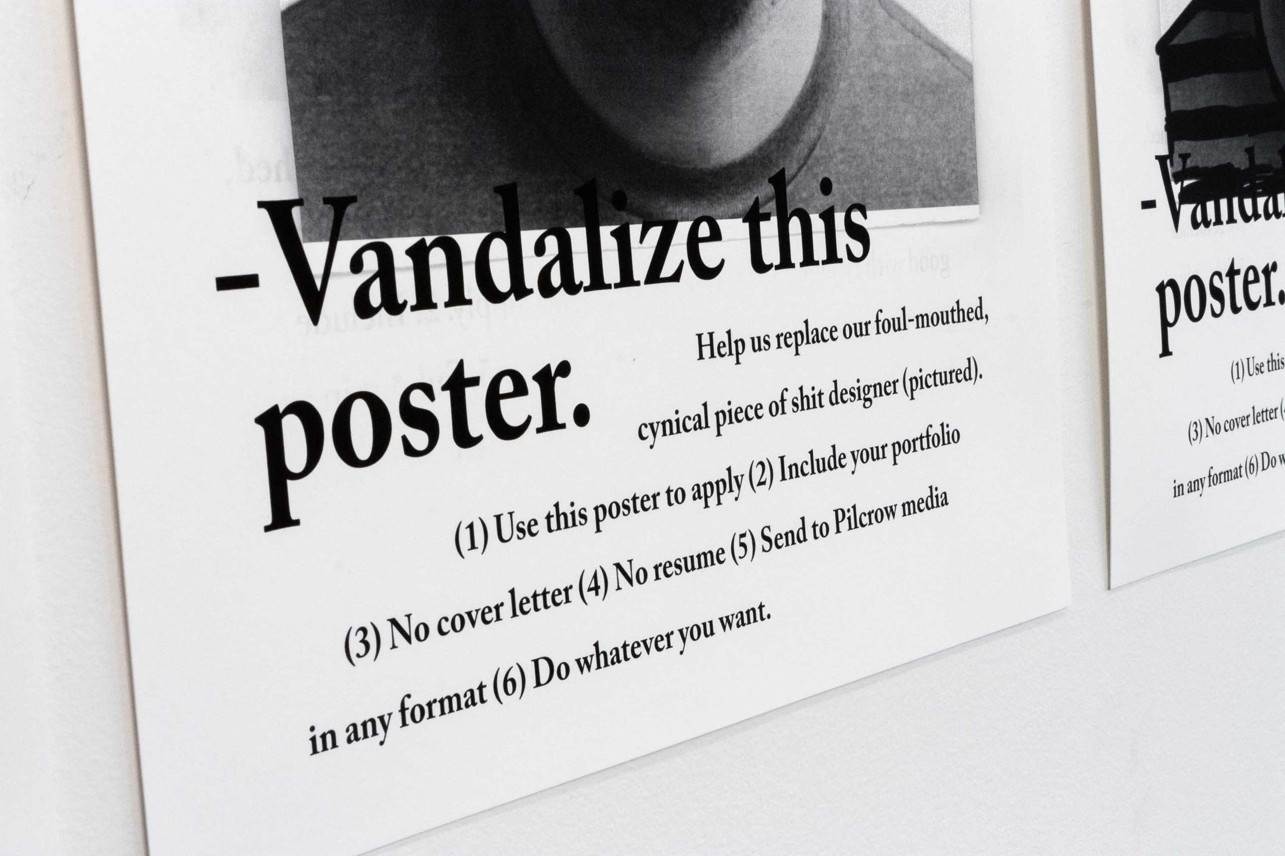 "Close up of ""Vandalize this poster"" Headline and copy — by Yagnyuk."