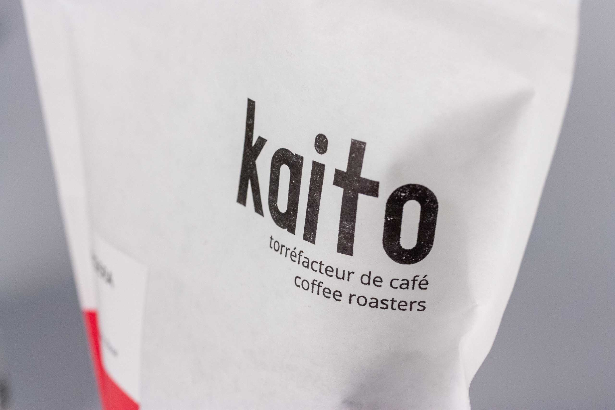 Close up of the Kaito Coffee logo on the coffee bag.
