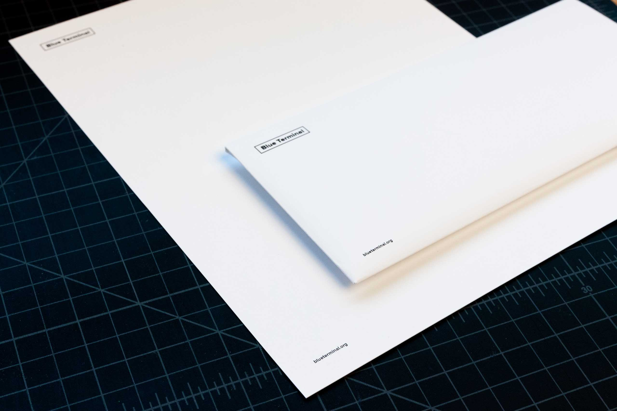 Blue Terminal letterhead and envelope — by Yagnyuk.
